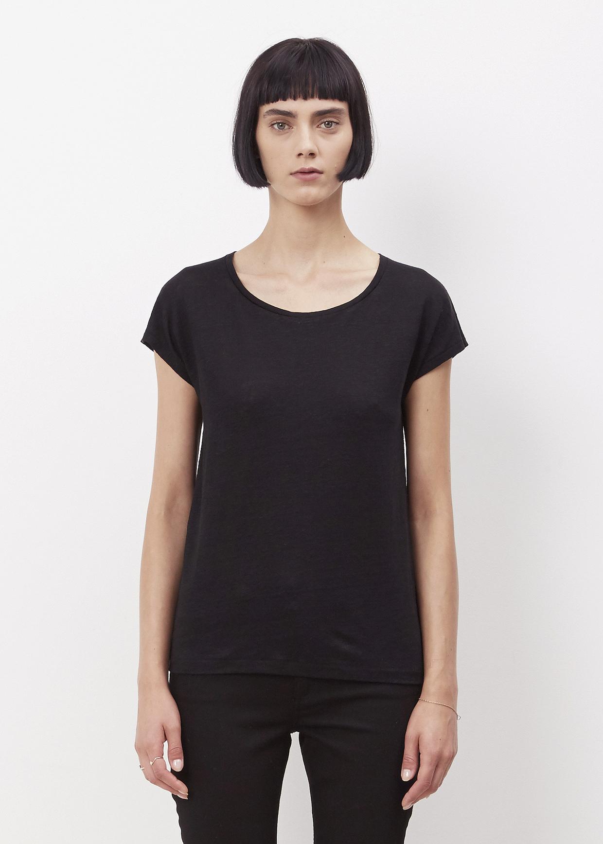 Acne Black Narda Linen T Shirt In Black Lyst