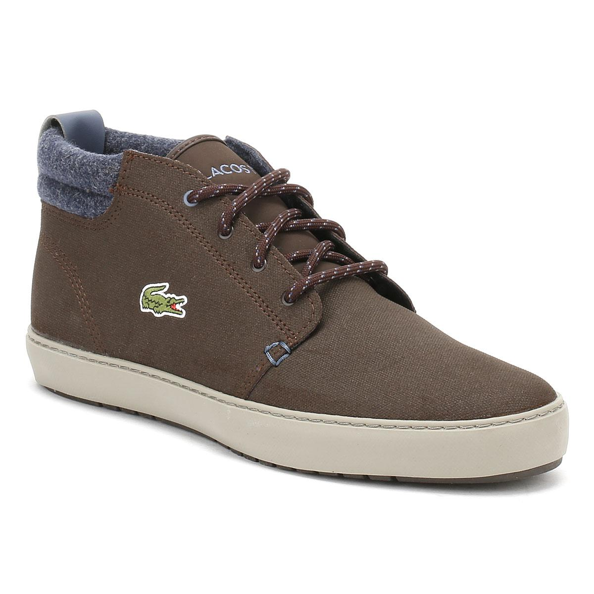 287aefef1 Lyst - Lacoste Mens Dark Brown Ampthill Terra Leather Trainers in ...