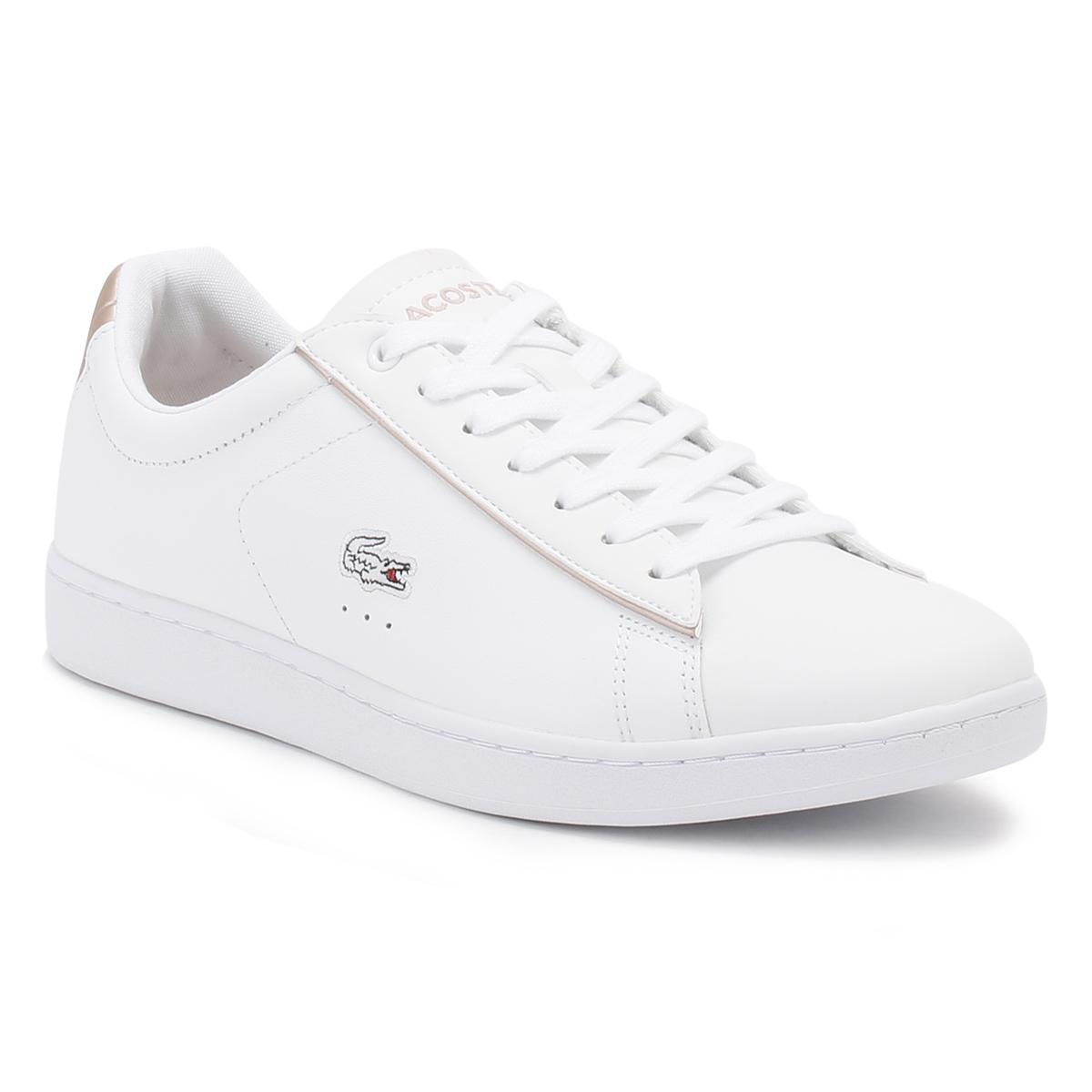 8c1fdd9333c408 Lacoste Womens White/light Pink Carnaby Evo 217 2 Spw Trainers in ...