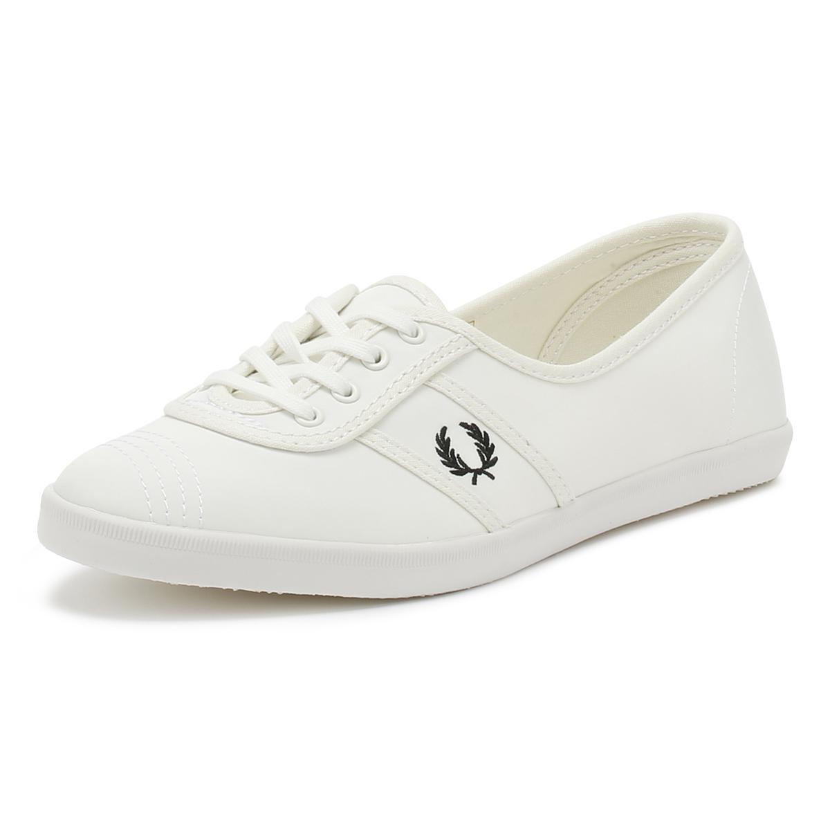 67ad3dbdd8 Lyst - Fred Perry Womens Snow White   Black Aubrey Poly Trainers in ...