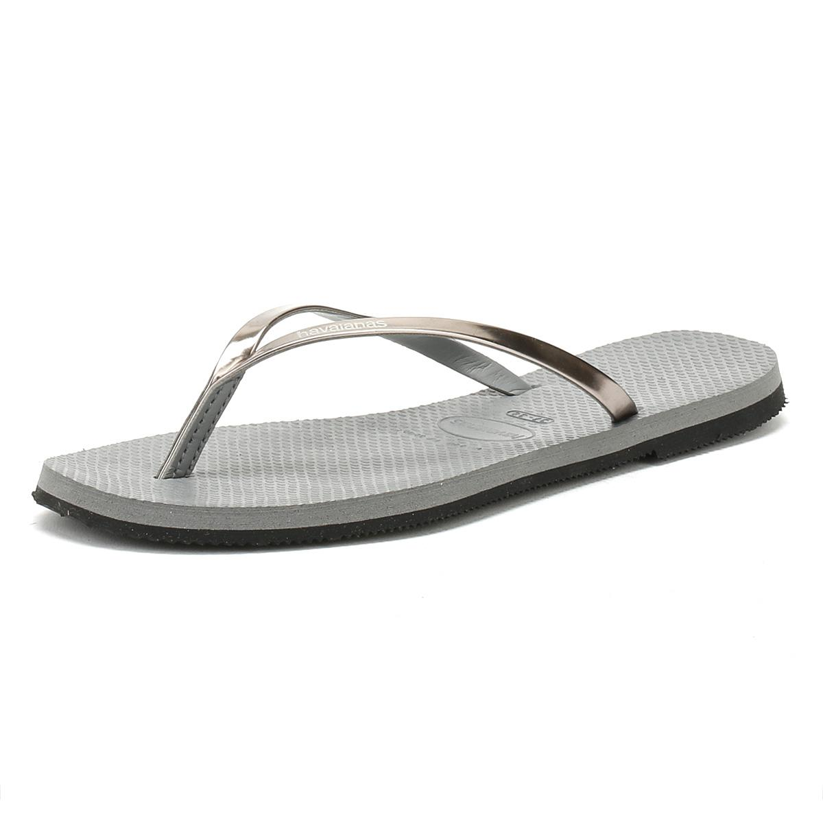 aa5cd795f357d7 Havaianas - Gray Womens Grey You Metallic Flip Flops - Lyst. View fullscreen