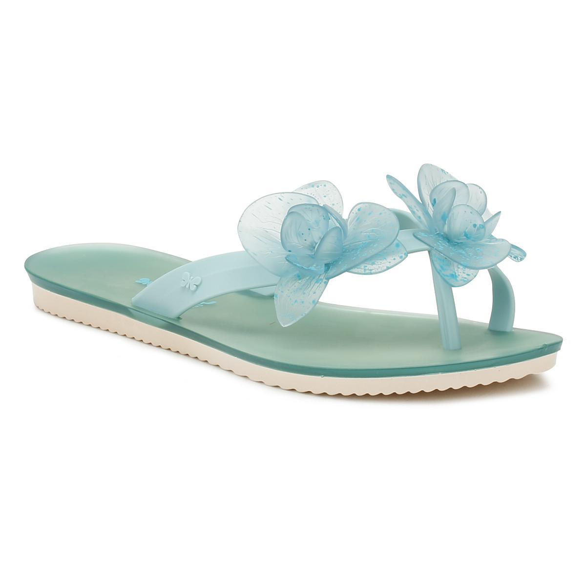 981cc7a021112 Zaxy Womens Aqua Ice Flower Flip Flops in Blue - Save ...