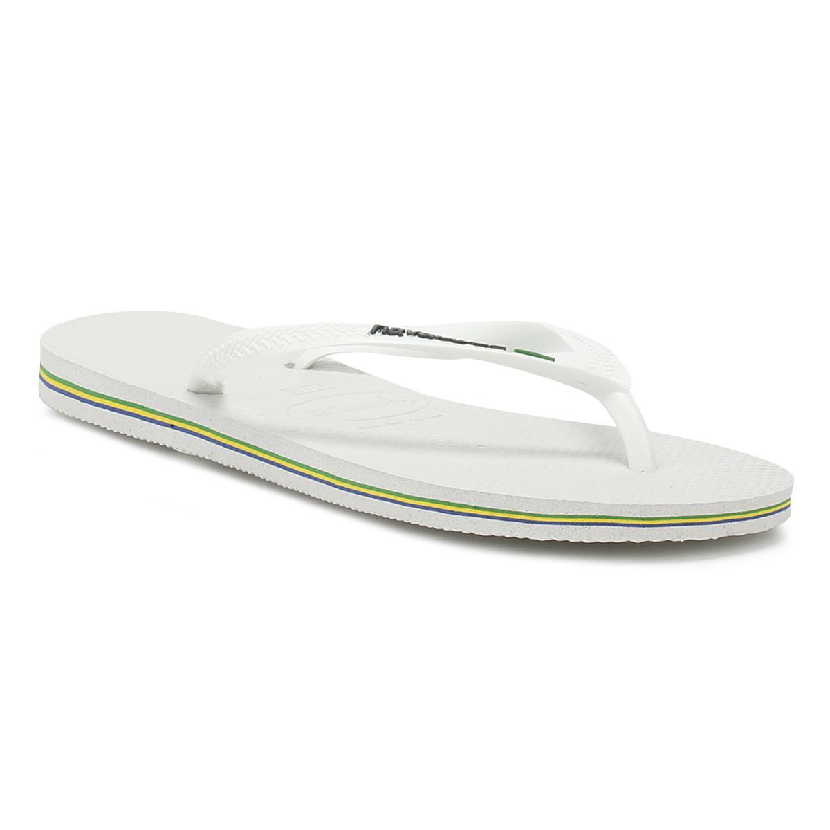 3615ce54600a Havaianas Womens White Slim Brasil Logo Flip Flops in White - Lyst