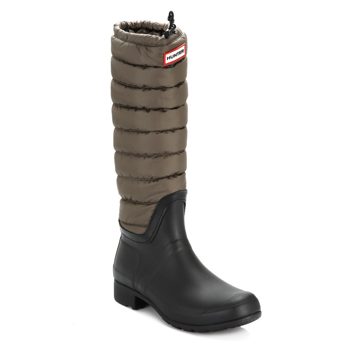 HUNTER. Original Womens Swamp Green Tall Quilted Leg Wellington Boots