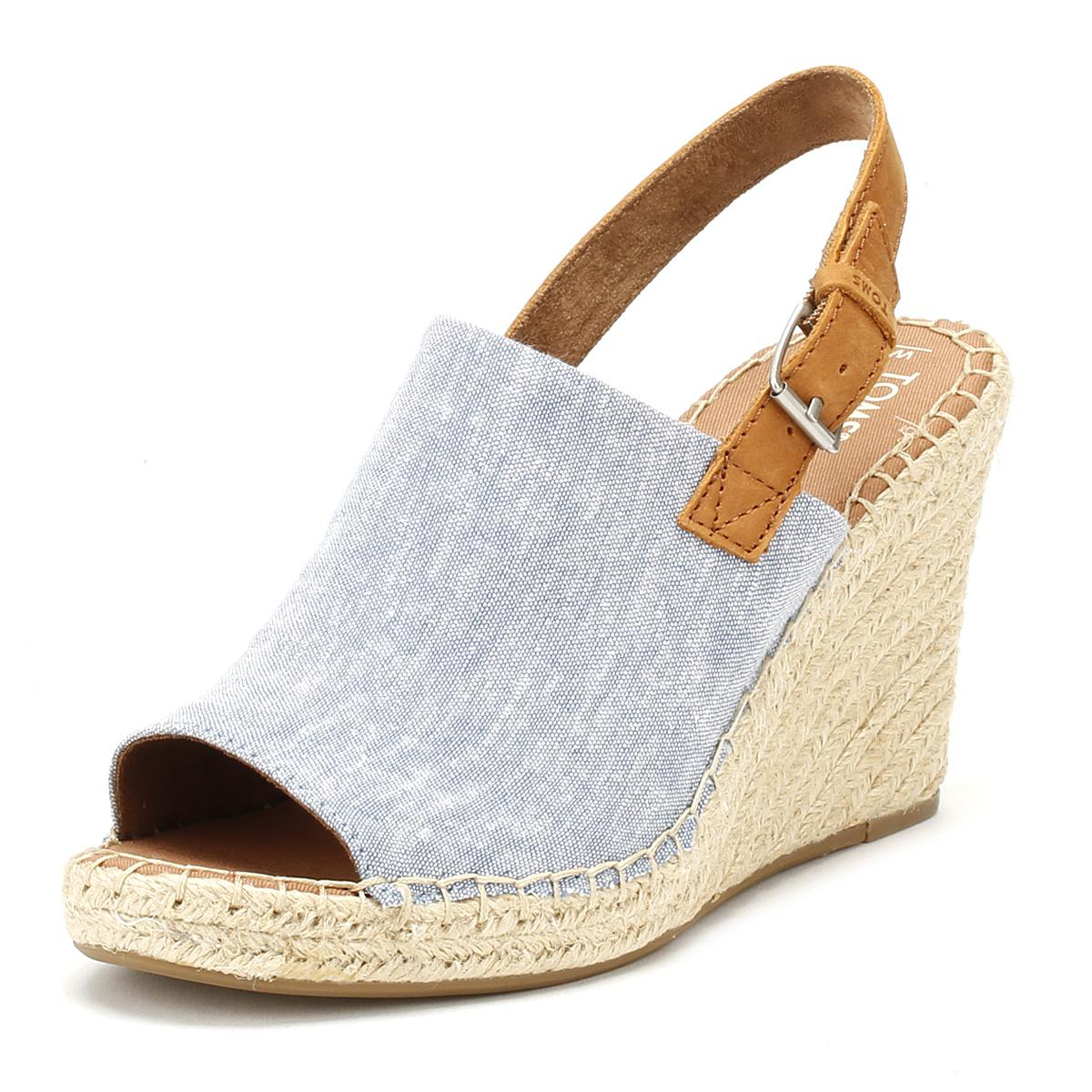 e56ad216c5e Lyst - TOMS Womens Blue Chambray Monica Wedges in Blue - Save 14%