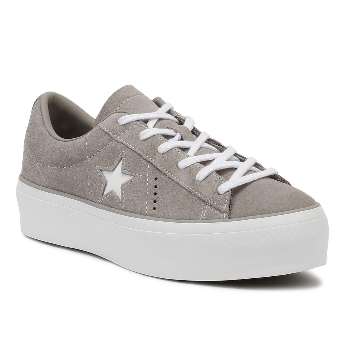 34447f2557ce Lyst - Converse One Star Womens Grey Platform Trainers in Gray