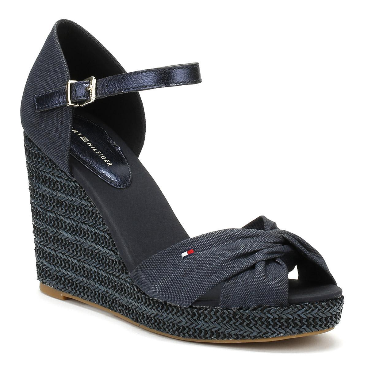 5ba16756bfe1 Tommy Hilfiger Womens Midnight Navy Metallic Elena Wedge Sandals in ...