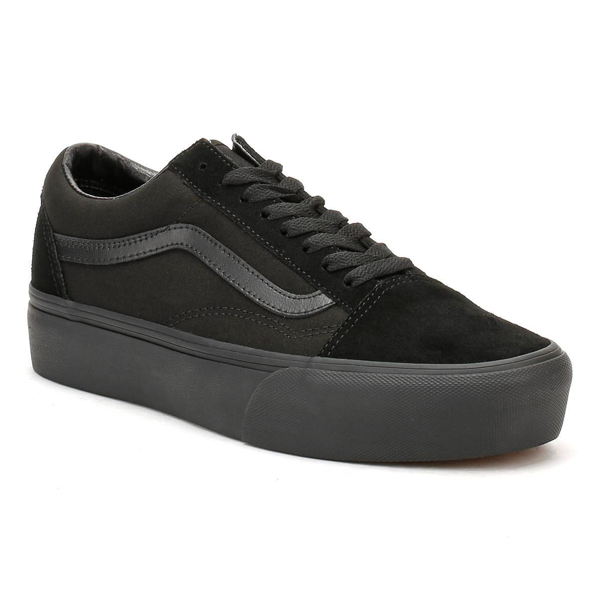 9e8cca36d32 Vans Womens Black   Black Old Skool Platform Trainers in Black ...