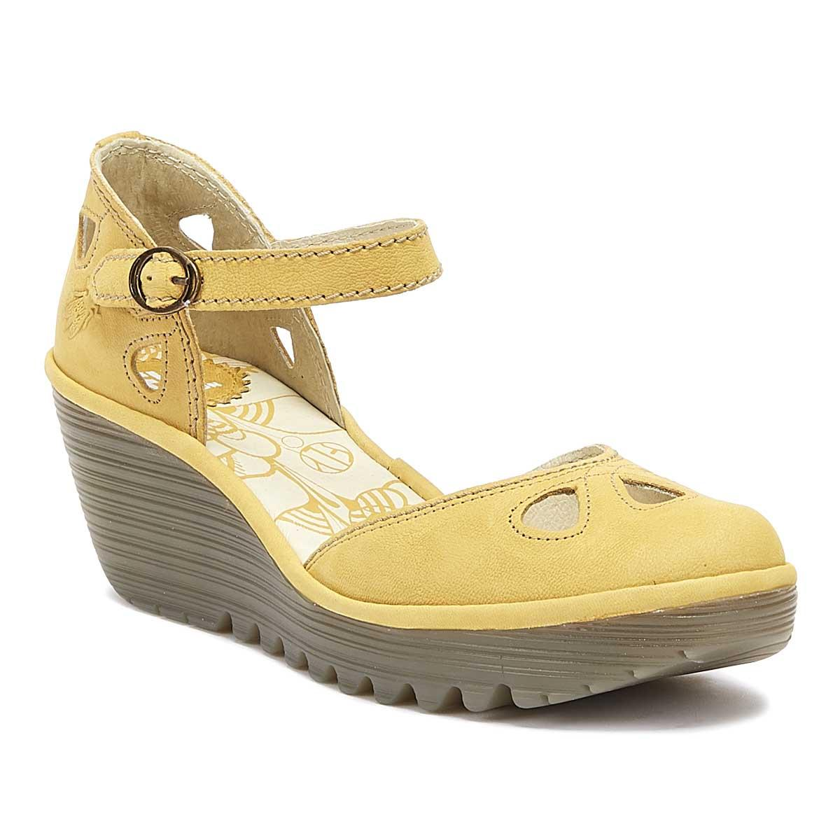 1a759a3a477b1 Fly London Yuna Womens Bumblebee Yellow Leather Wedge Sandals in ...