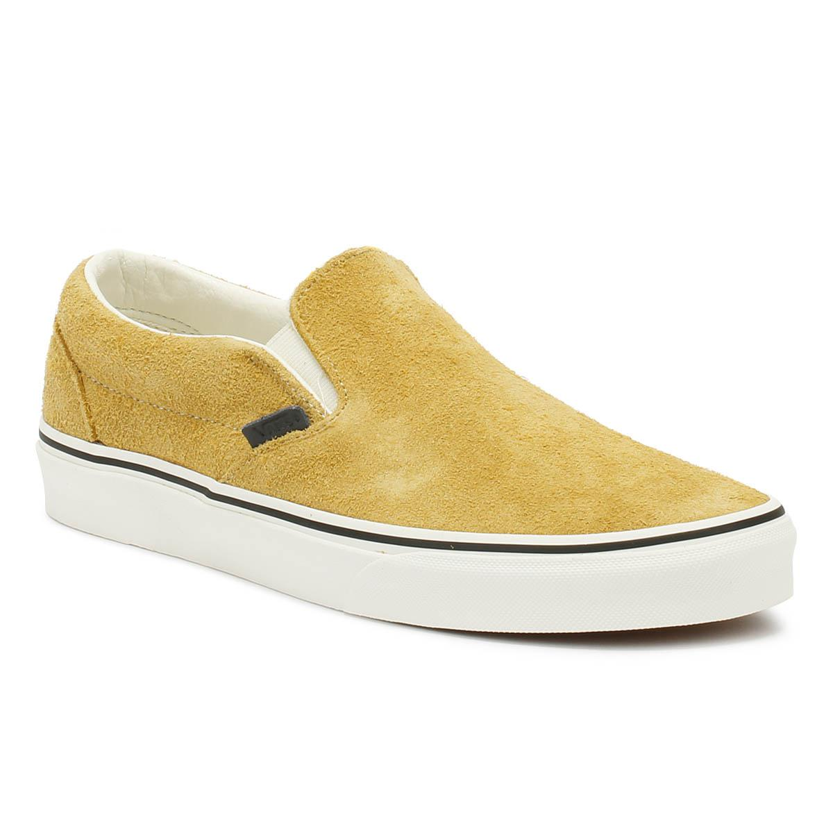 17acf81d3e3697 Vans. Natural Classic Slip On Hairy Suede Mens Sunflower Beige Trainers