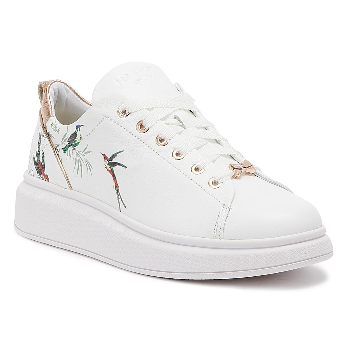 f76b7fd13bc Lyst - Ted Baker Ailbe 4 Womens White Fortune Leather Trainers in White