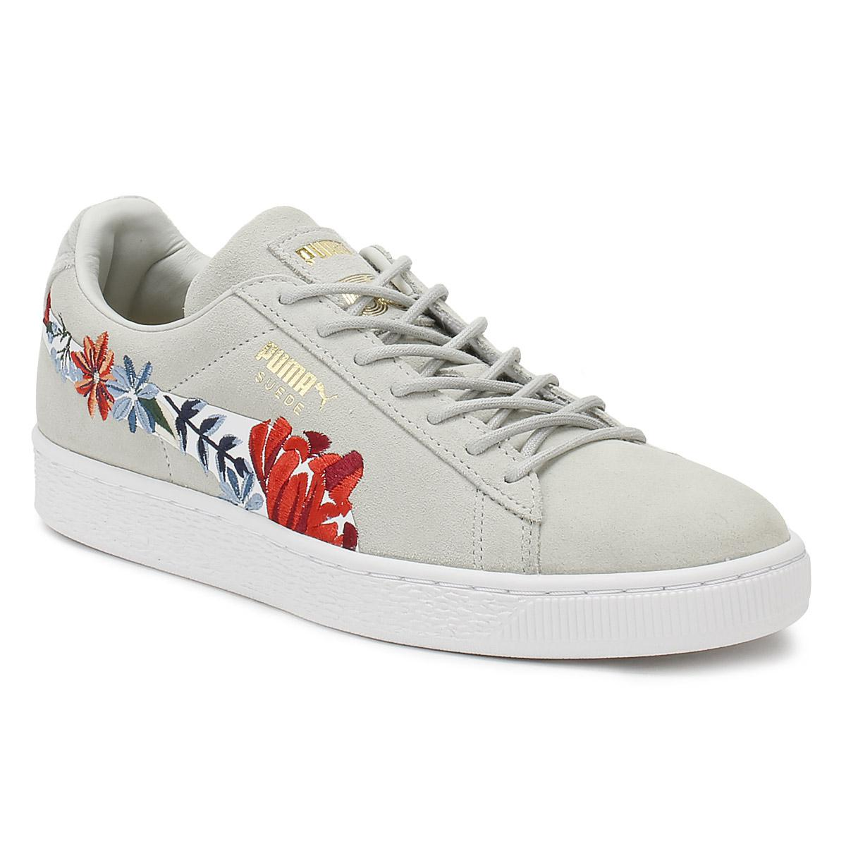 6d7f0b797ce PUMA. Gray Womens Glacier Grey Suede Classic Embroidery Trainers