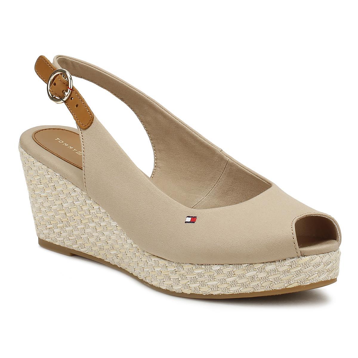 0ff160de4be Tommy Hilfiger Womens Cobblestone Grey Elba Wedge Sandals - Lyst