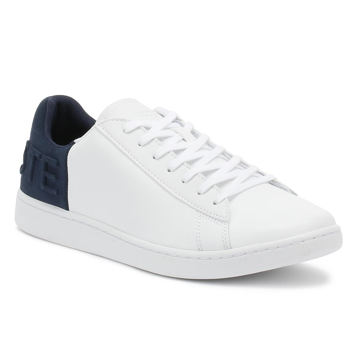 f62aacc7f3da Lyst - Lacoste Womens White   Navy Carnaby Evo 318 3 Trainers in White