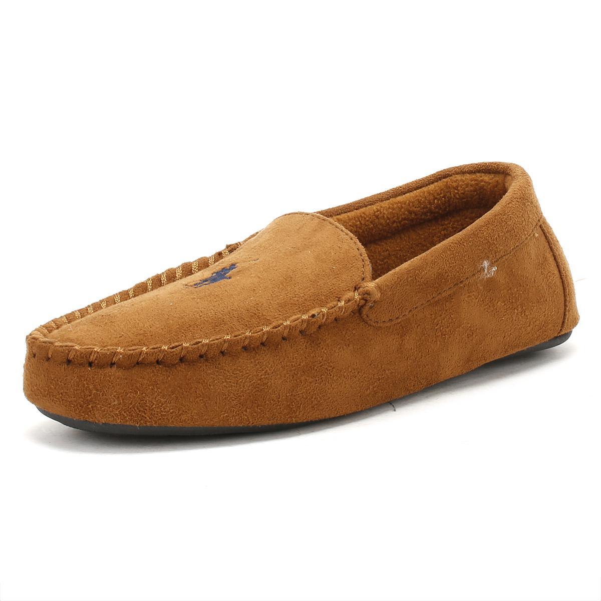 9769f0fcf Ralph Lauren Mens Snuff Tan / Navy Dezi Ii Moccasin Slippers in ...