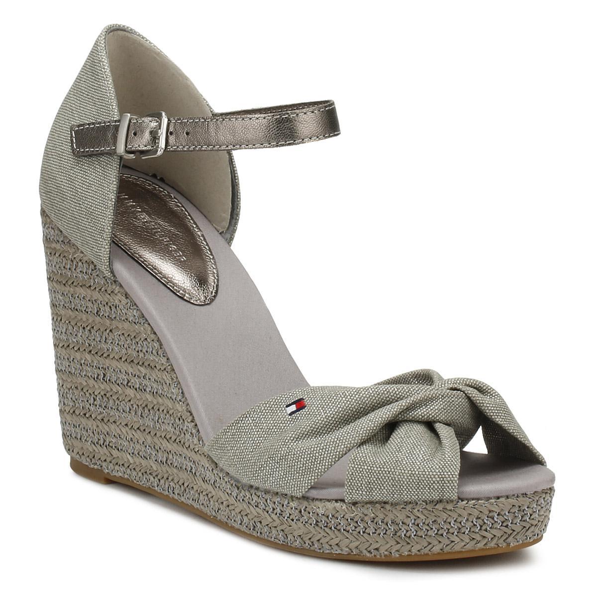 84495e36c224 Tommy Hilfiger Womens Light Grey Metallic Elena Wedge Sandals in ...
