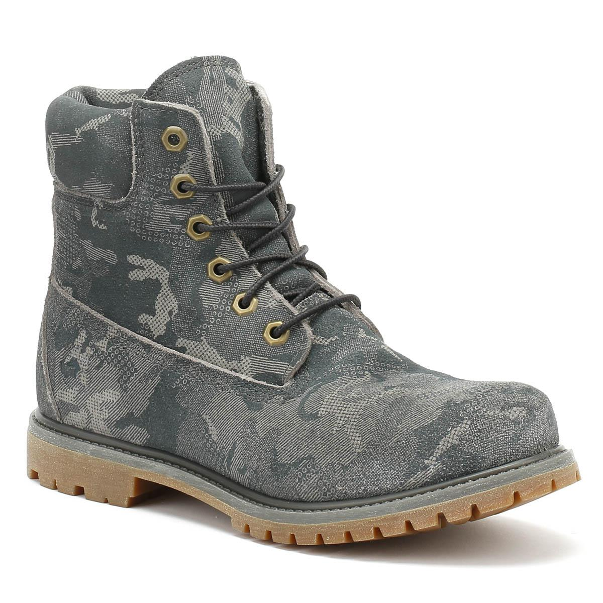 6ad053ec1603 Timberland - Gray Womens Multi Grey Camo 6 Inch Premium Boots - Lyst. View  fullscreen