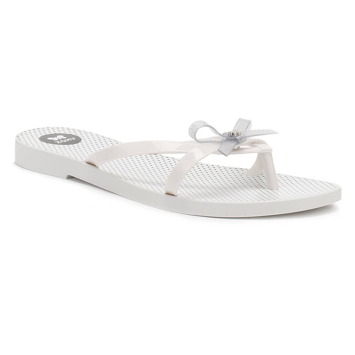 ad45c27becadea Zaxy Womens White Glitter Fresh Bow Flip Flops Women s Flip Flops ...