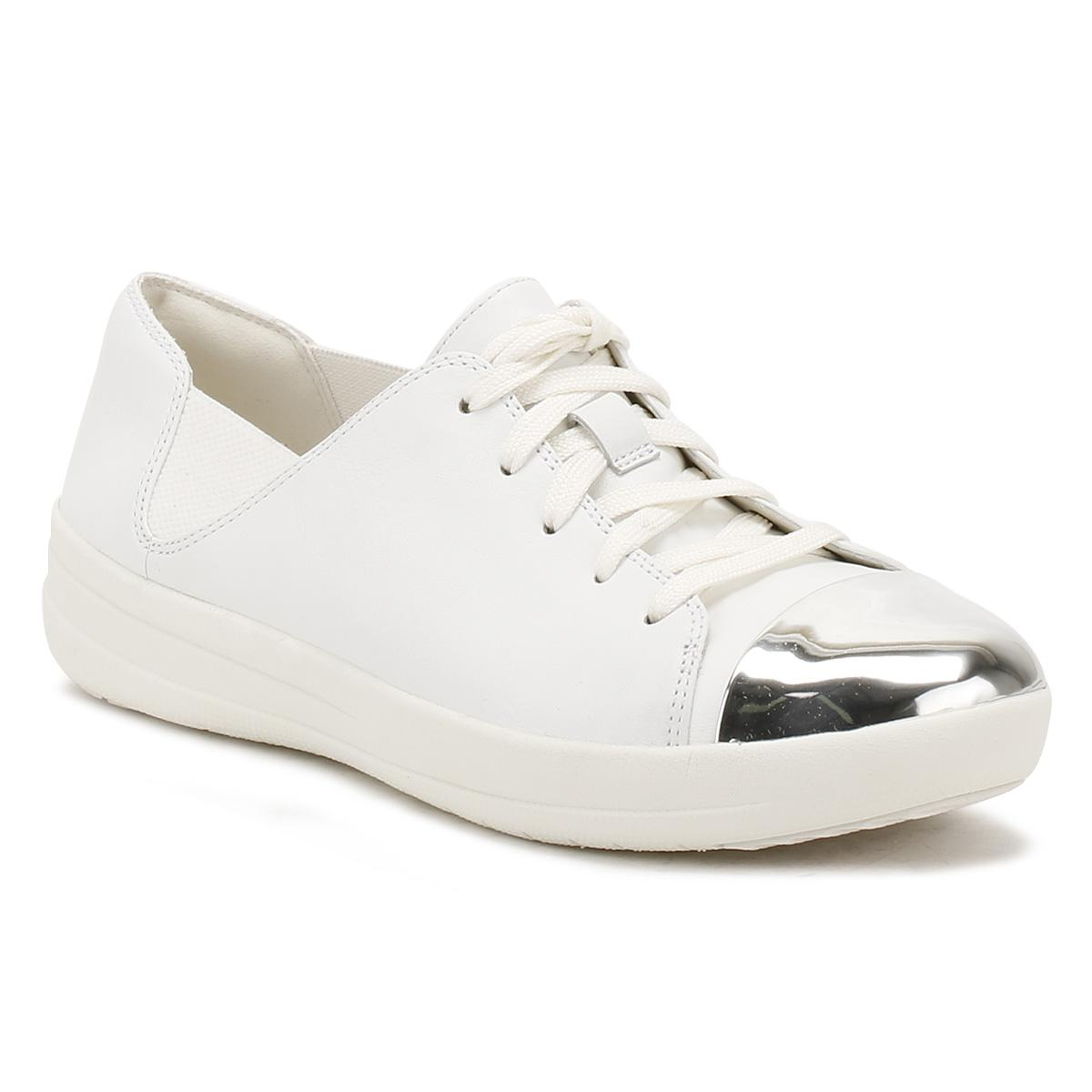 083b6847fd176 Fitflop Womens Urban White F-sporty Mirror-toe Trainers in White ...