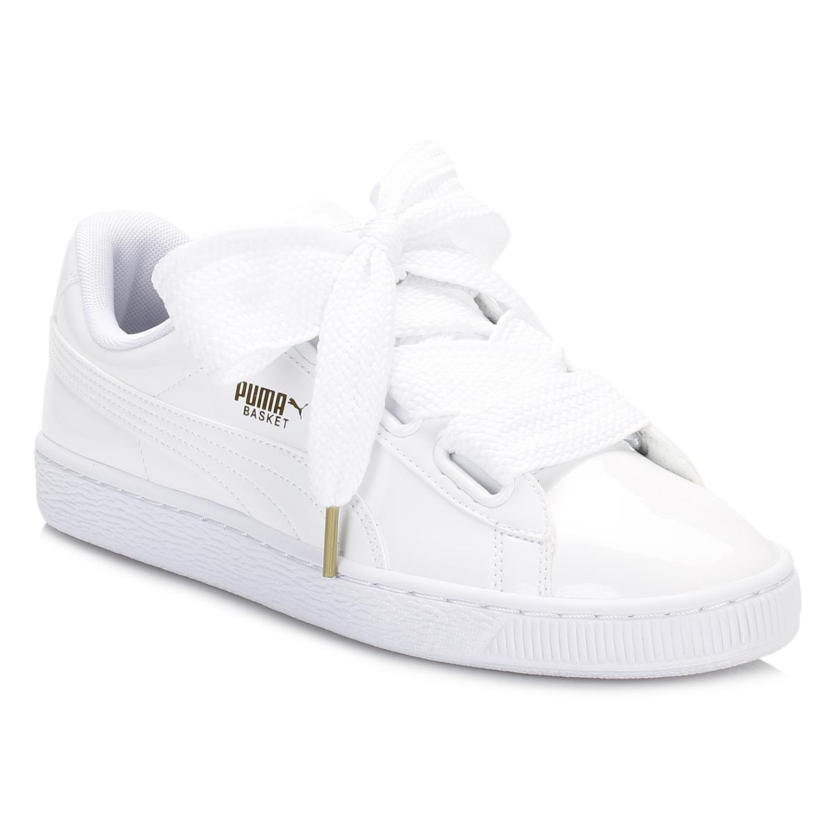52f252e0b33c17 Lyst - PUMA Womens White Basket Heart Patent Trainers in White
