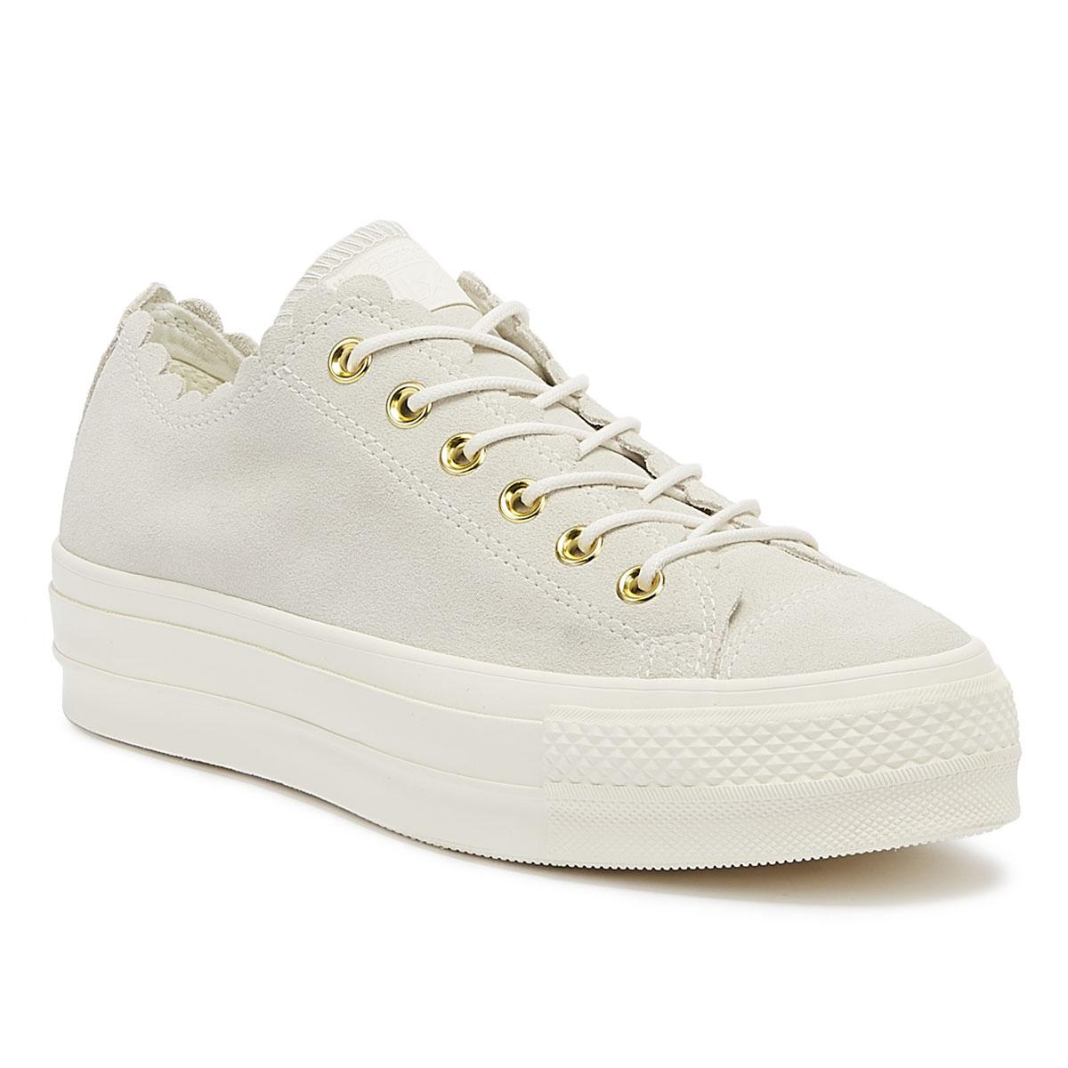 79104a8f2dc8df Converse. Chuck Taylor All Star Lift Frilly Thrills Womens Egret Trainers