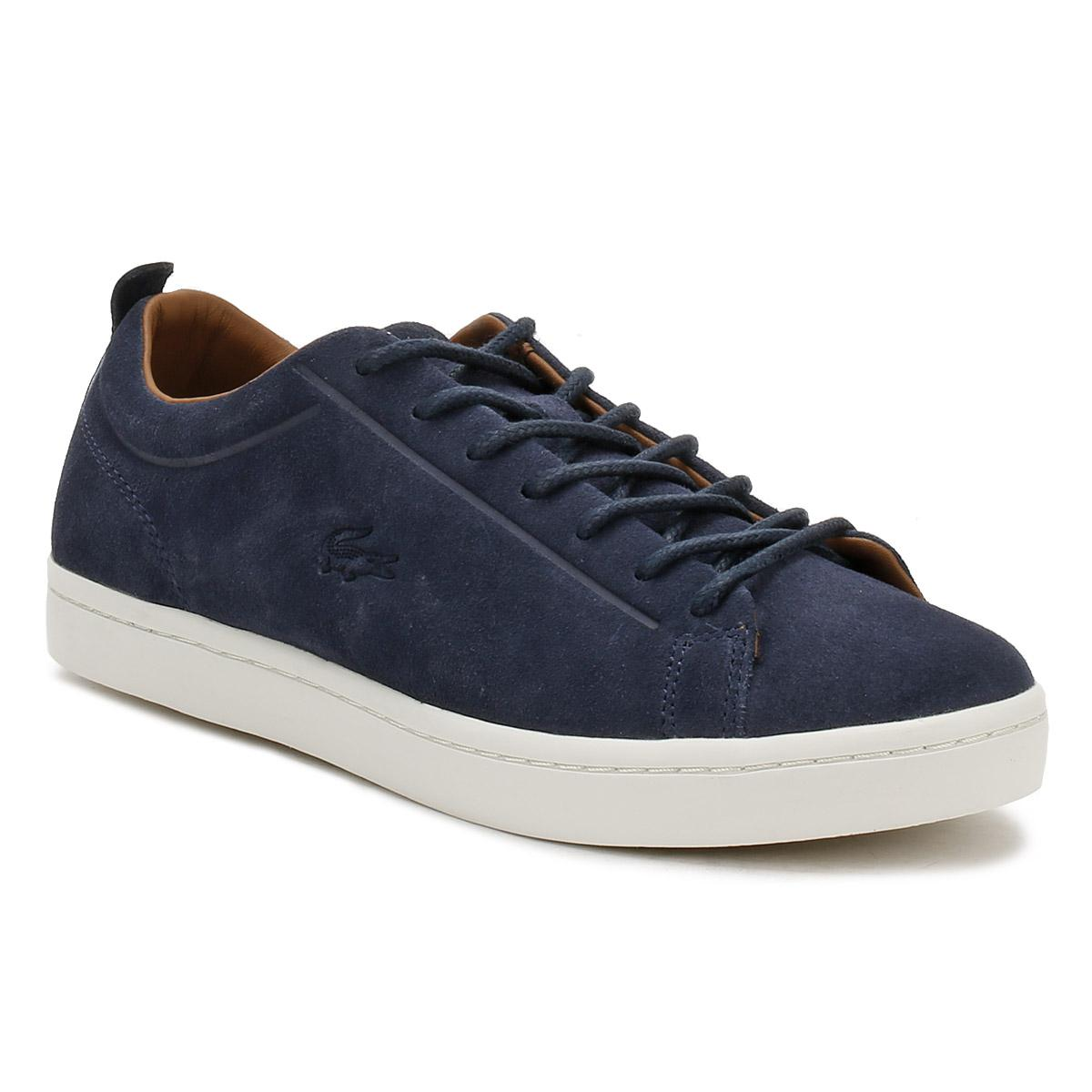 b94809111 Lyst - Lacoste Mens Navy Straightset 317 3 Trainers in Blue for Men ...