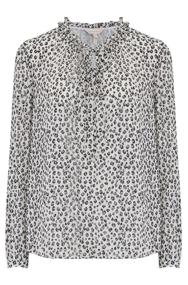 c02cf9dd3fab7 Rebecca Taylor Long Sleeve Mini Cheetah Print Top In Snow Combo ...