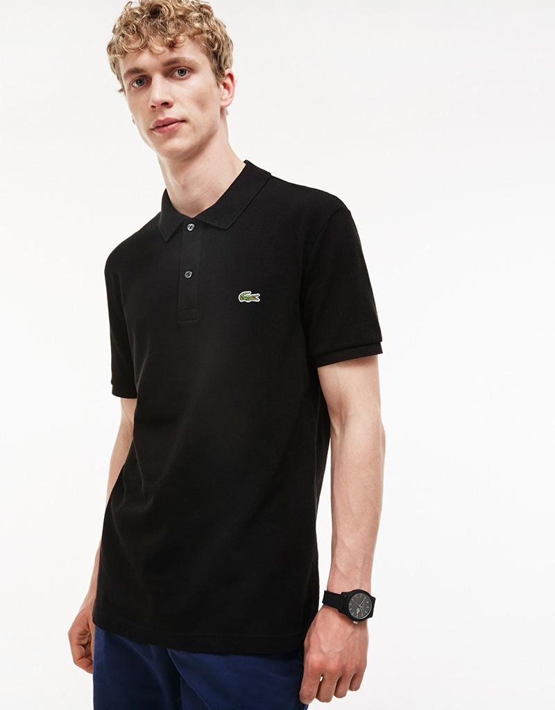 8a58445c Lacoste Black Cotton Slim Fit Polo Shirt in Black for Men - Lyst