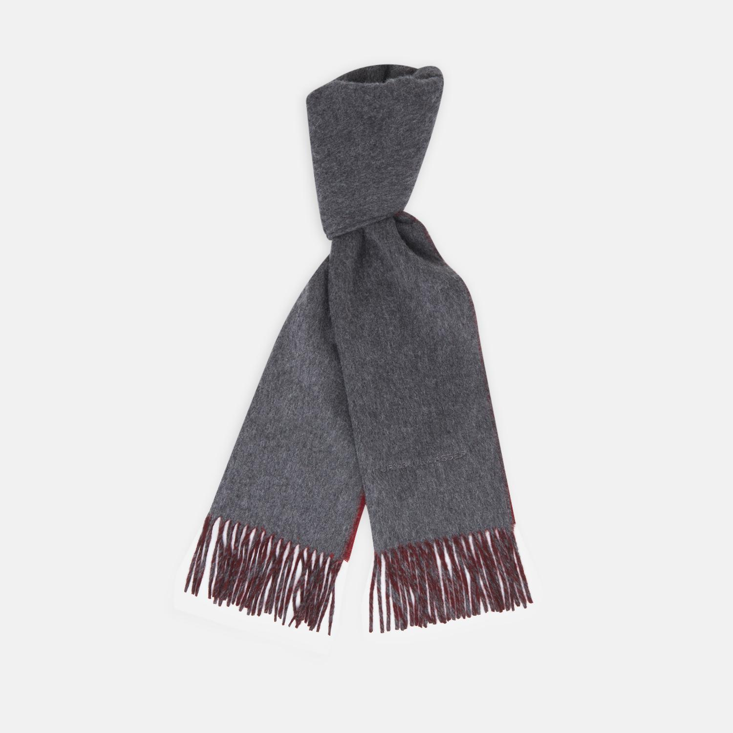 2238059ed6a49 Turnbull & Asser Grey And Red Cashmere Scarf for Men - Lyst