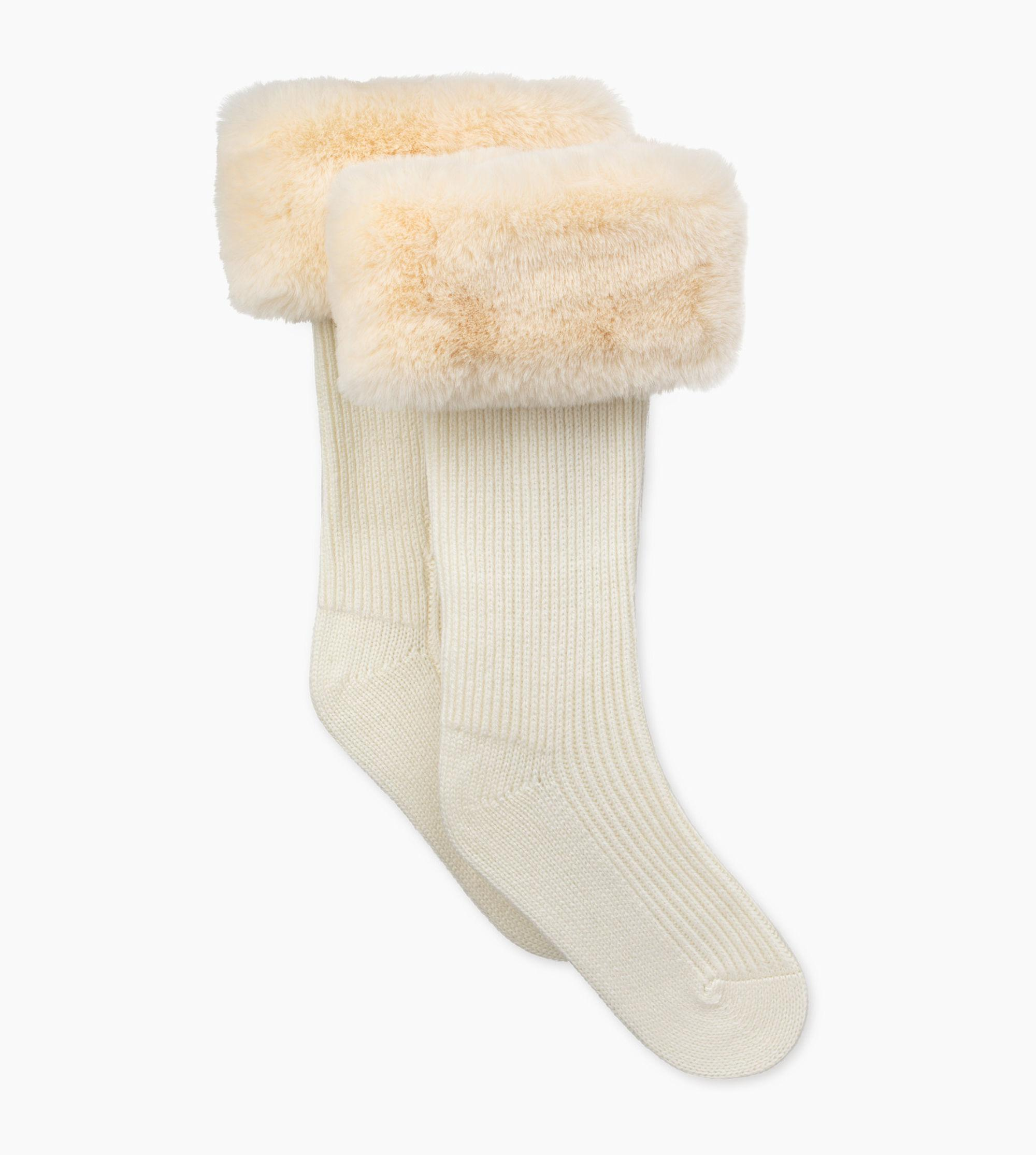 f1786606294 Lyst - Ugg Faux Fur Tall Rainboot Sock Shaye Rain Boot