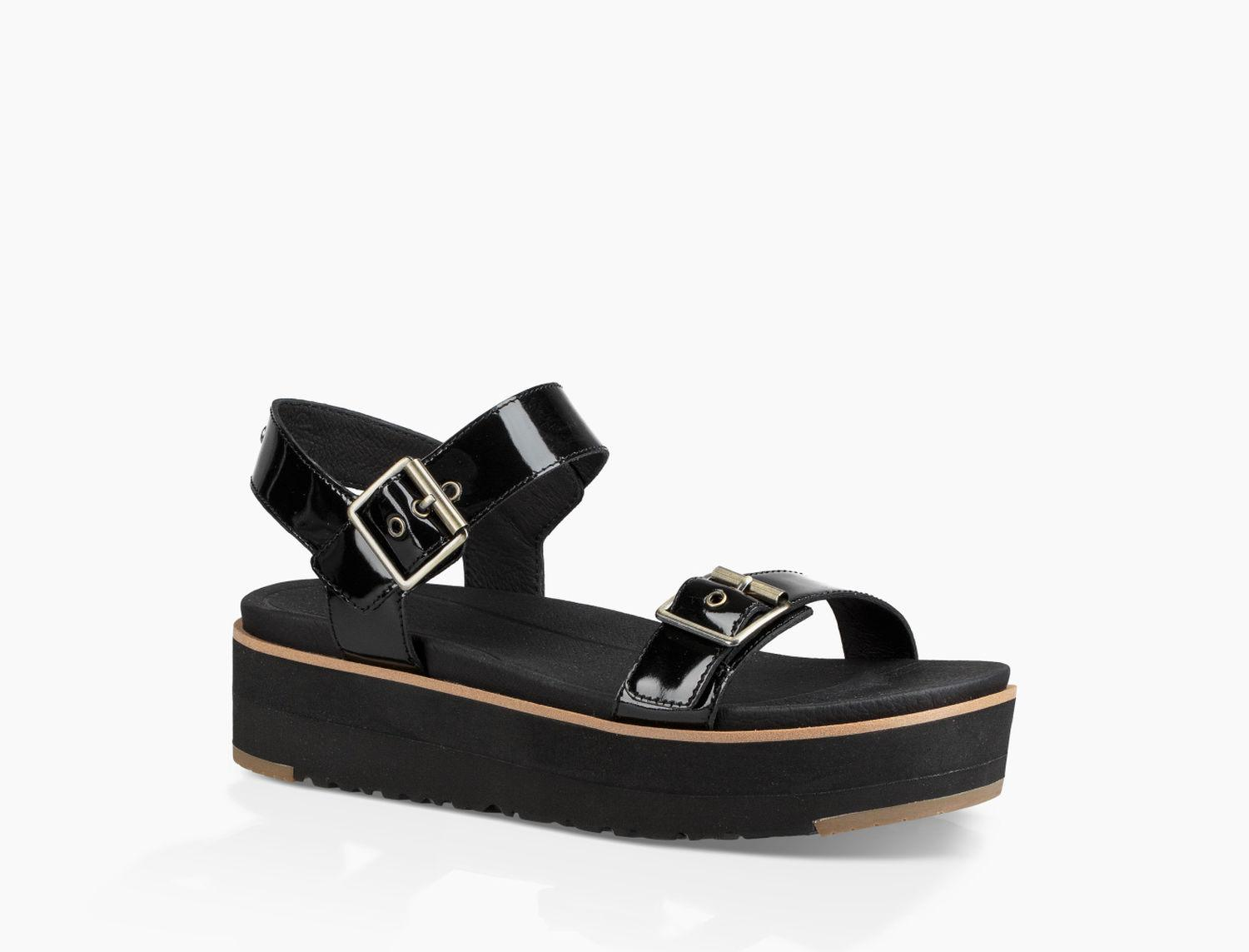 UGG® Angie Leather Sandal Women's Shoes in Black   Buckle