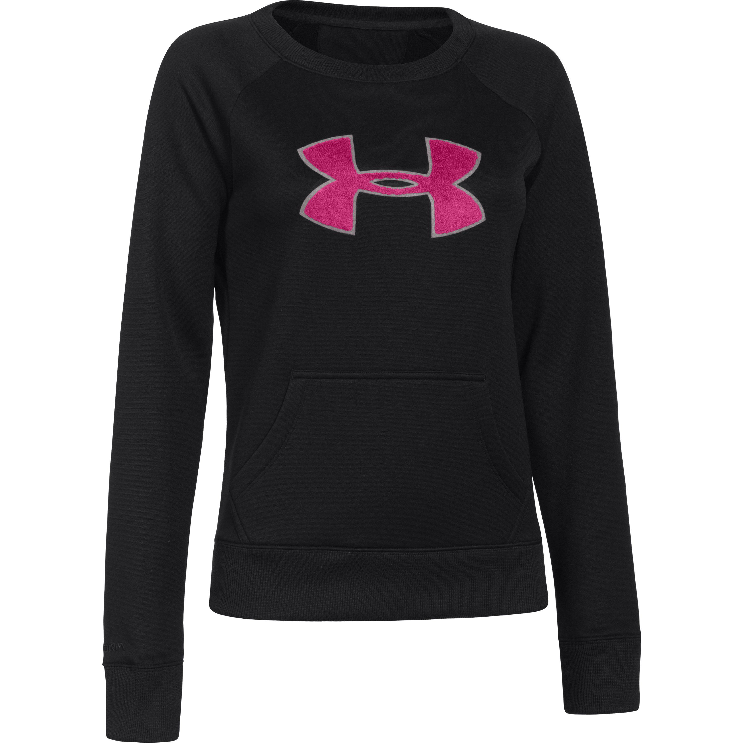 reputable site ea2a7 7d7fe Lyst - Under Armour Women s Ua Big Logo Letterman Crew in Black