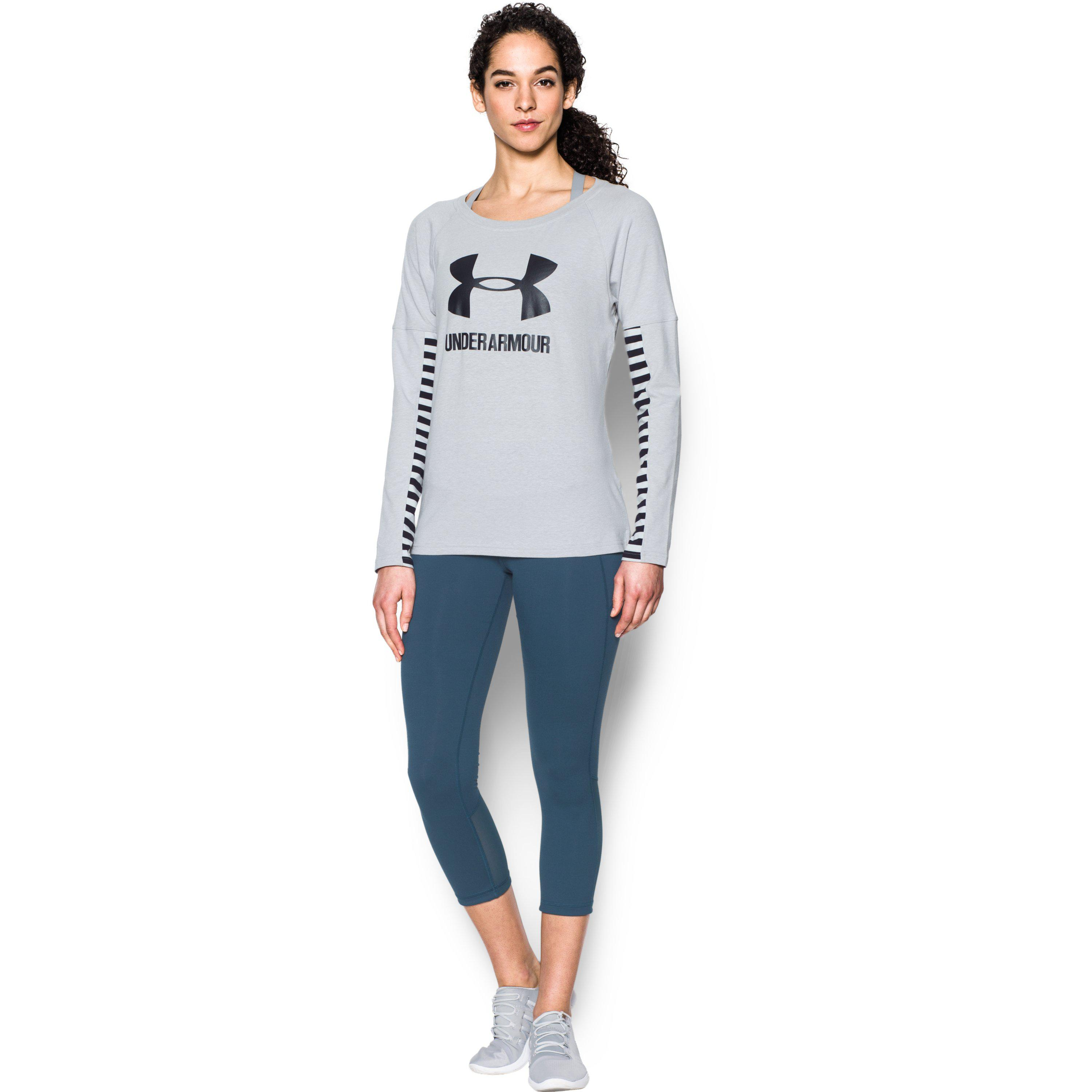 best loved 48225 04475 Under Armour Women s Ua Favorites Sportstyle Long Sleeve in Gray - Lyst