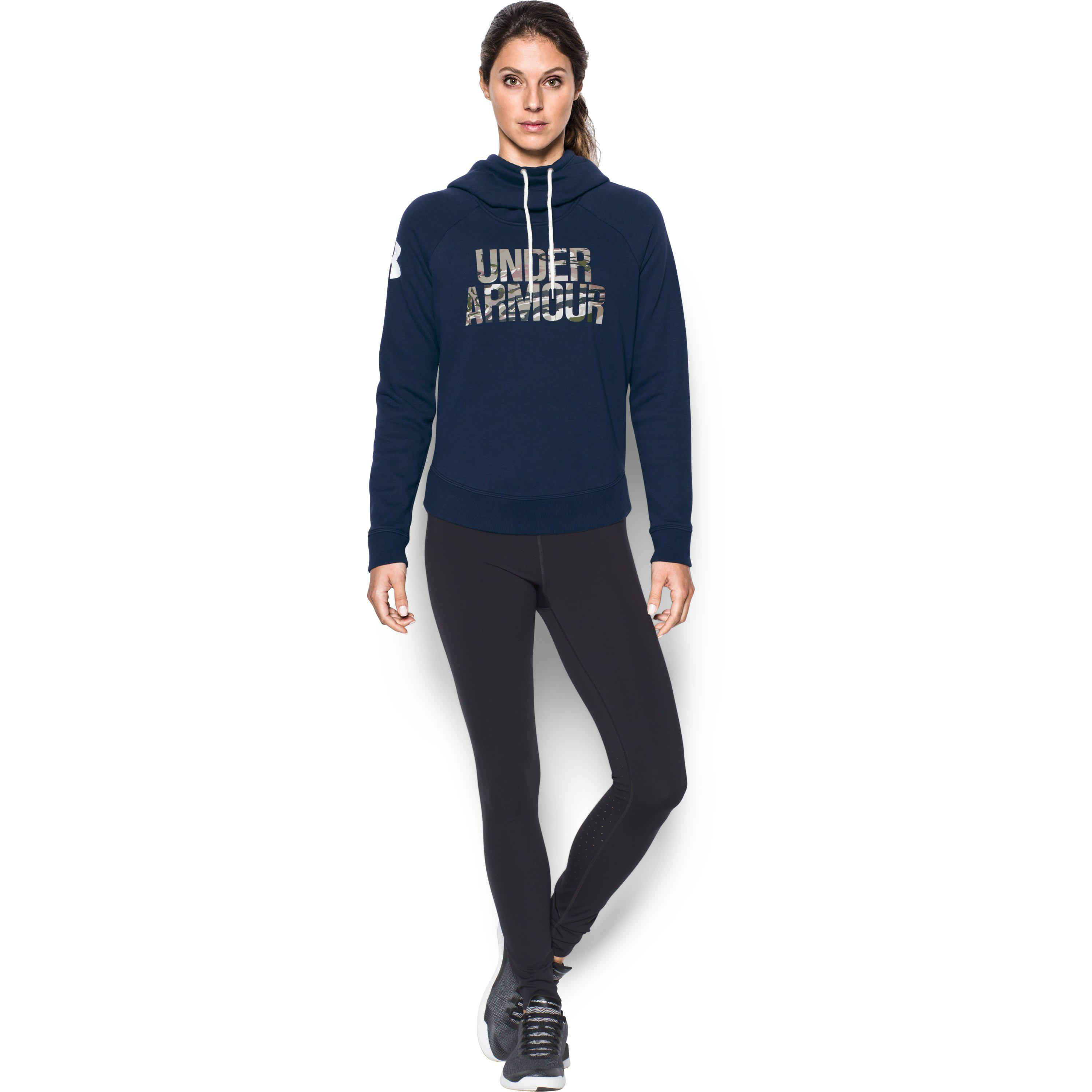 810fdb163ec Lyst - Under Armour Women s Ua Favorite Fleece Camo Logo Hoodie in Blue