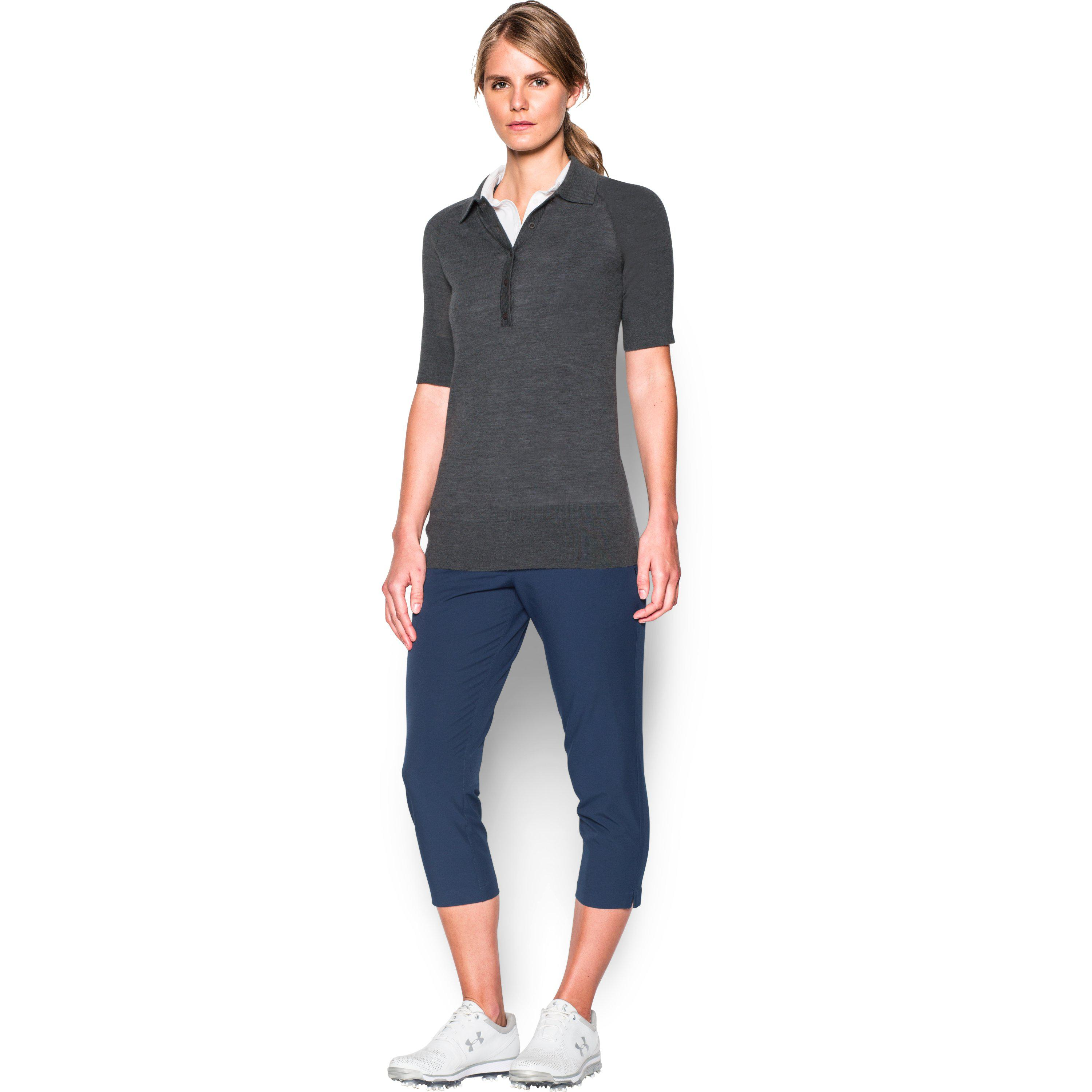Lyst Under Armour Womens Ua Polo Sweater In Gray