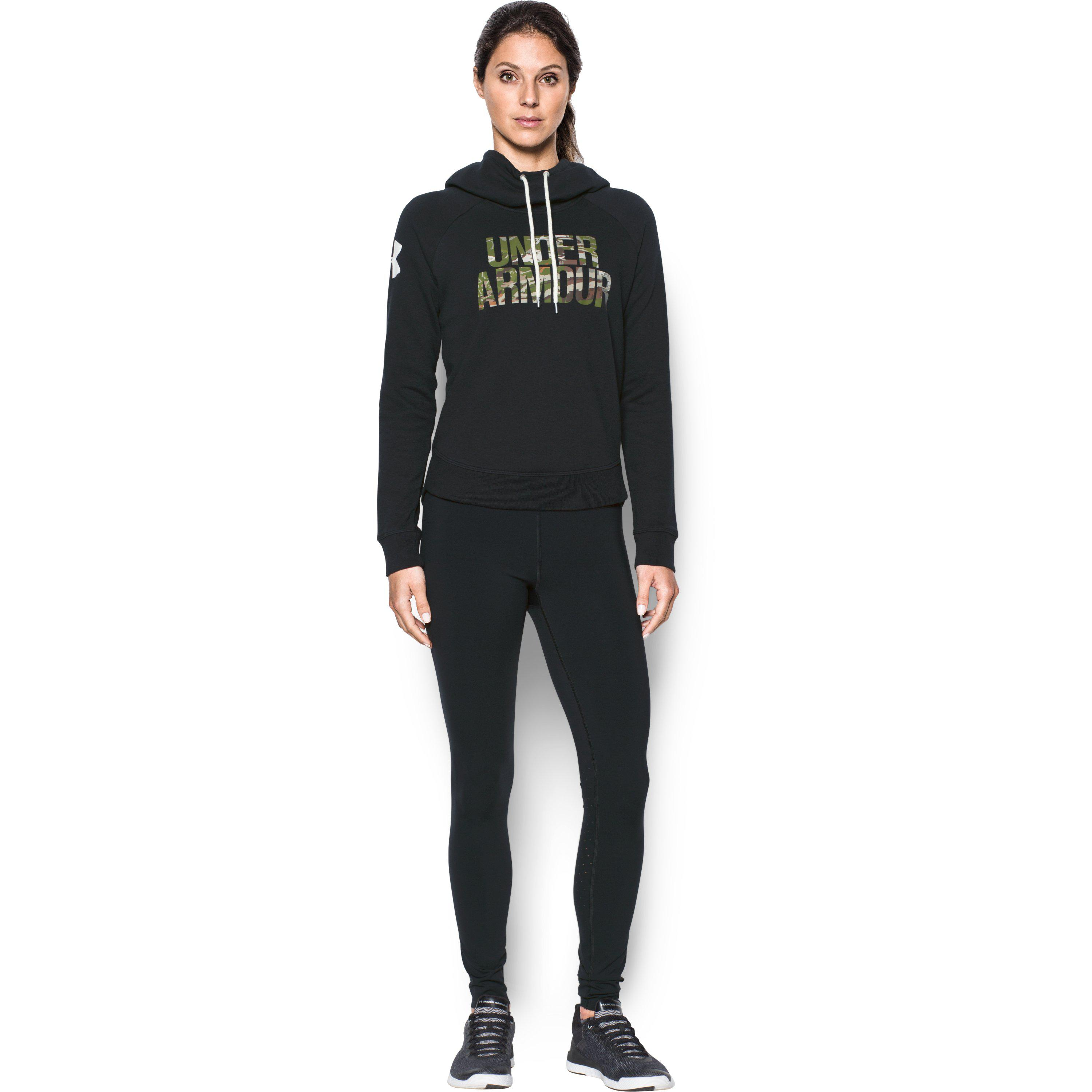 6500261bbda Lyst - Under Armour Women s Ua Favorite Fleece Camo Logo Hoodie in Black