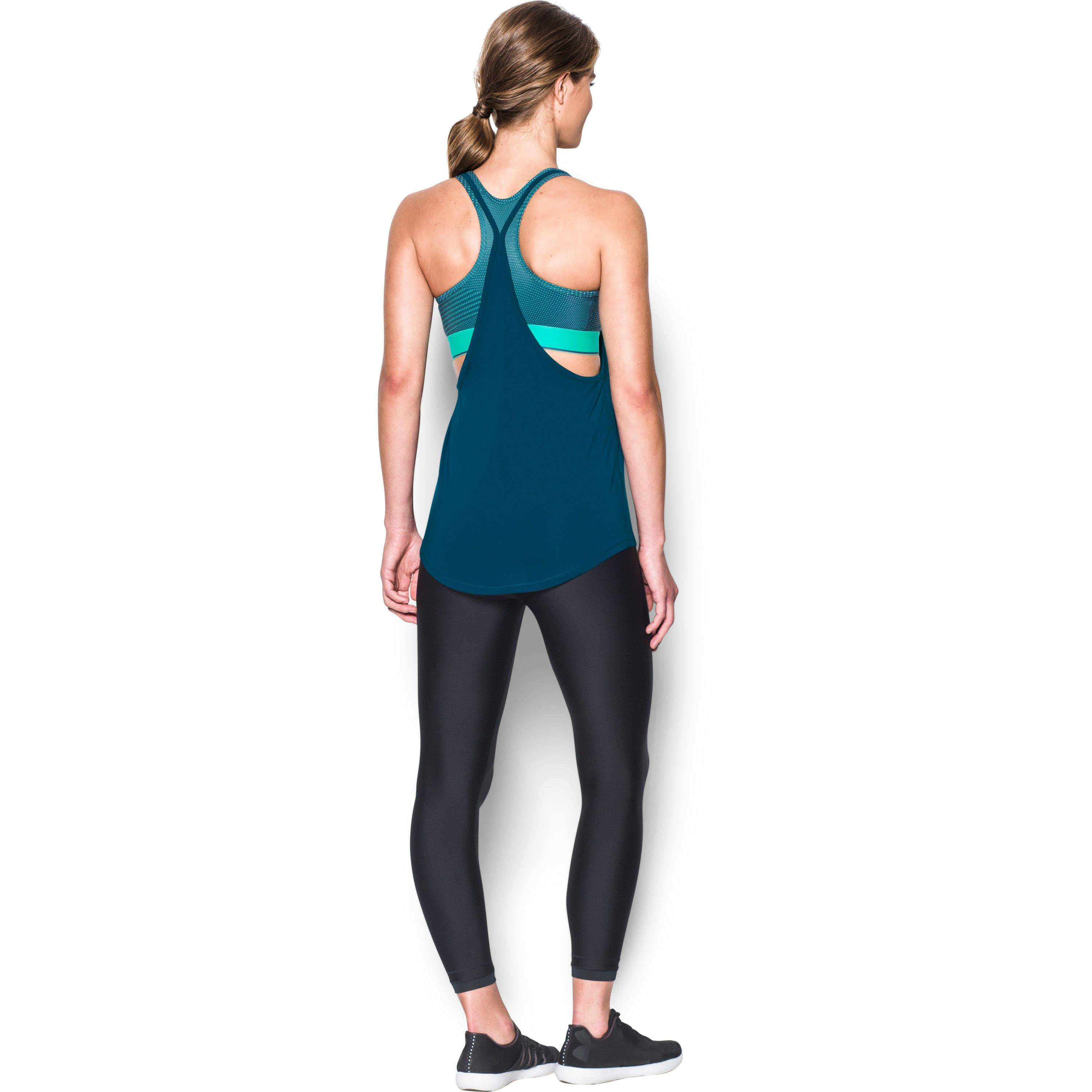 d980f198f4a04 Lyst - Under Armour Women s Heatgear® Armour Printed 2-in-1 Tank in Blue