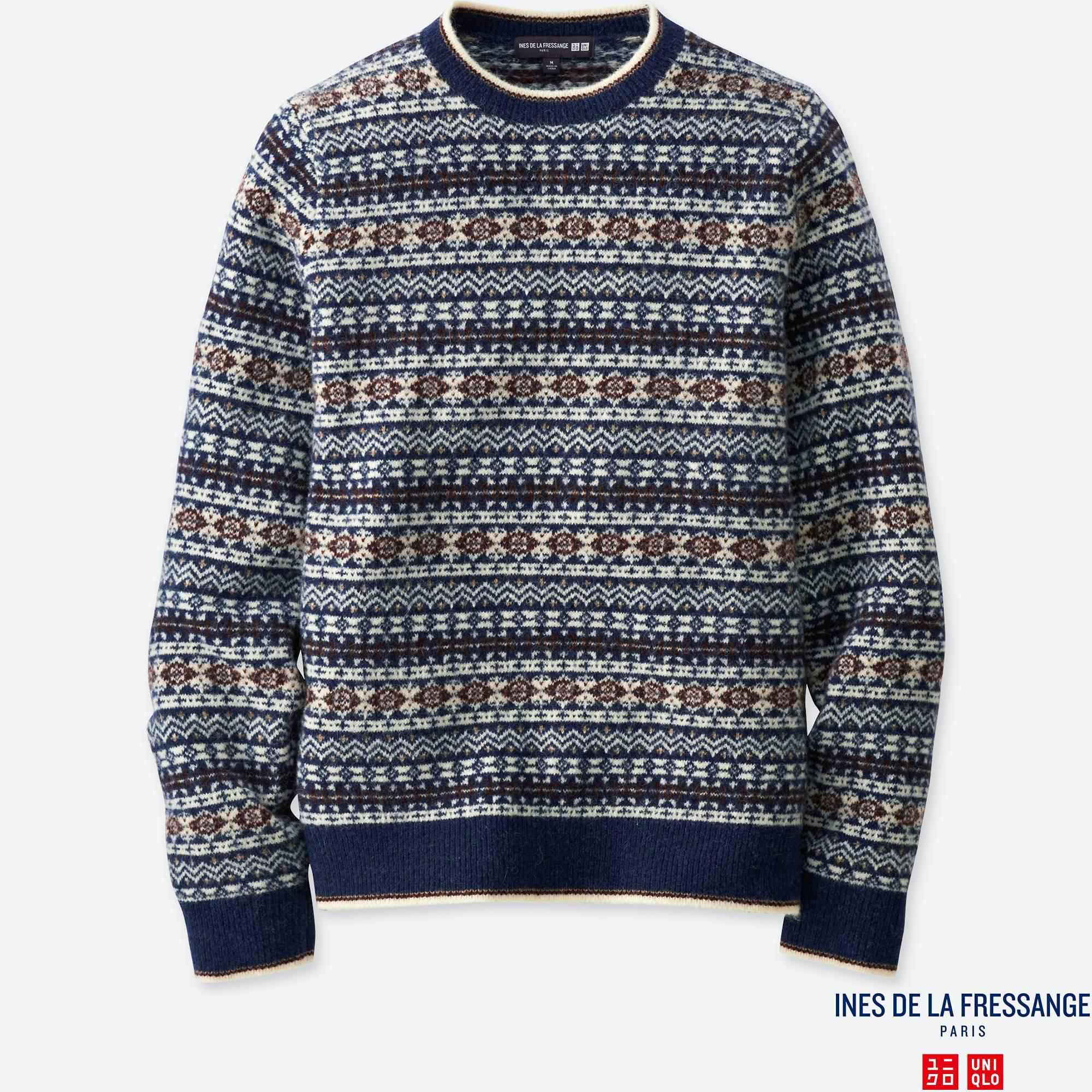 Uniqlo Men Idlf Jacquard Crewneck Long-sleeve Sweater in Blue for ...