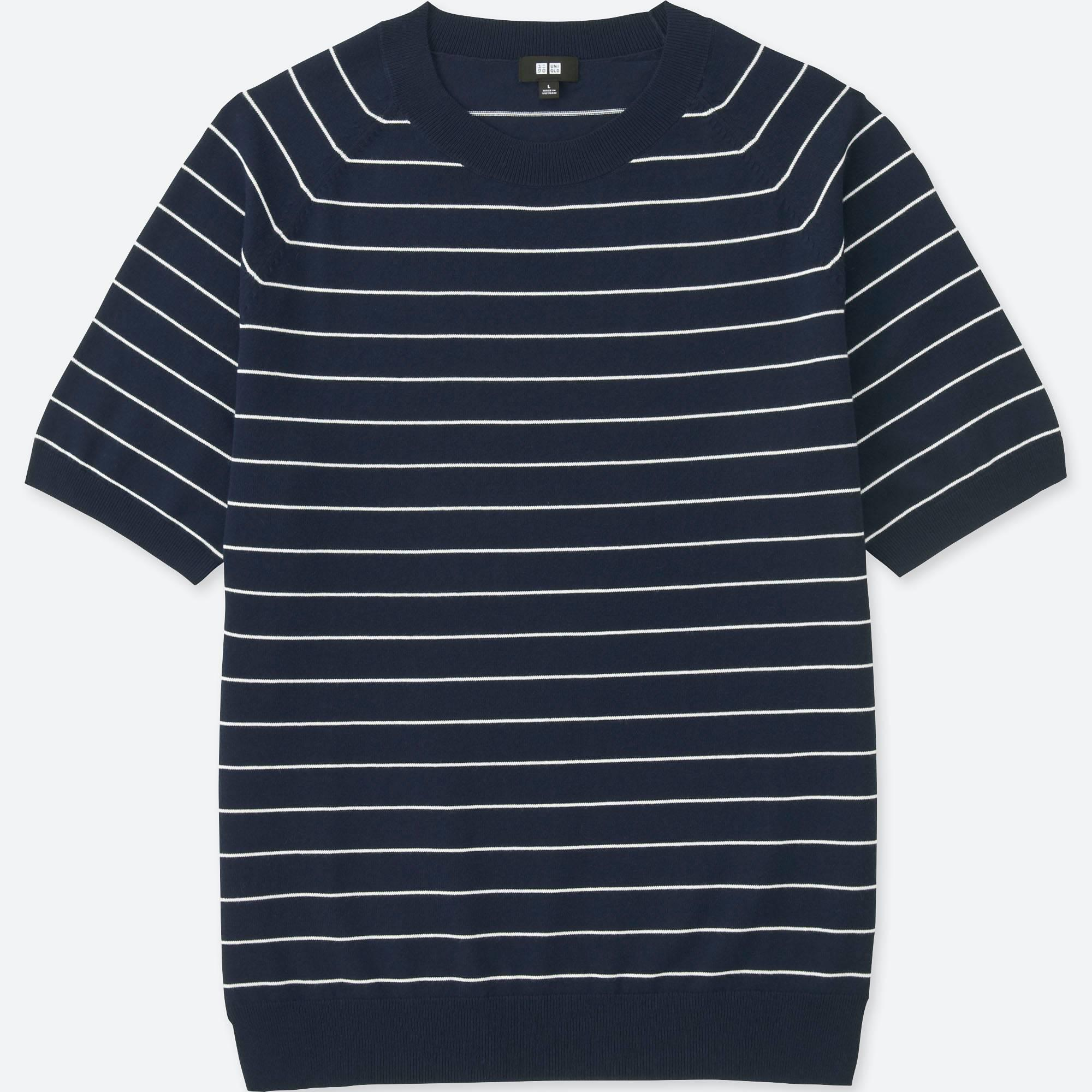 Lyst - Uniqlo Men Washable Striped Crewneck Short-sleeve Sweater in ... 2dcf5ebed