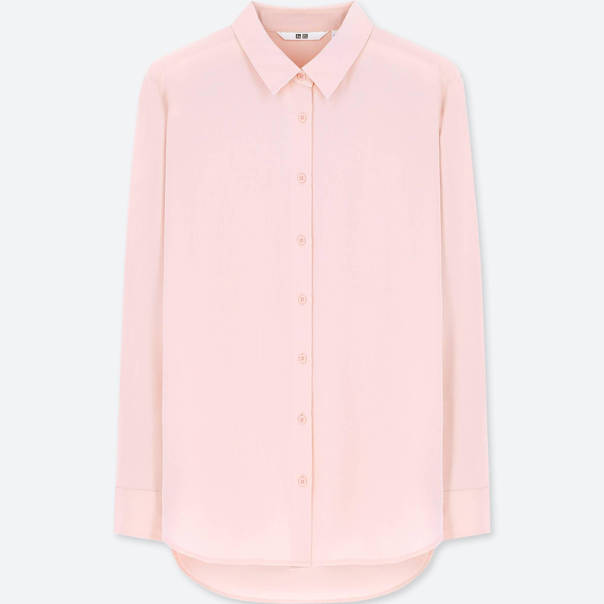 780800e971853 Lyst - Uniqlo Easy Care Rayon Long Sleeved Blouse in Pink