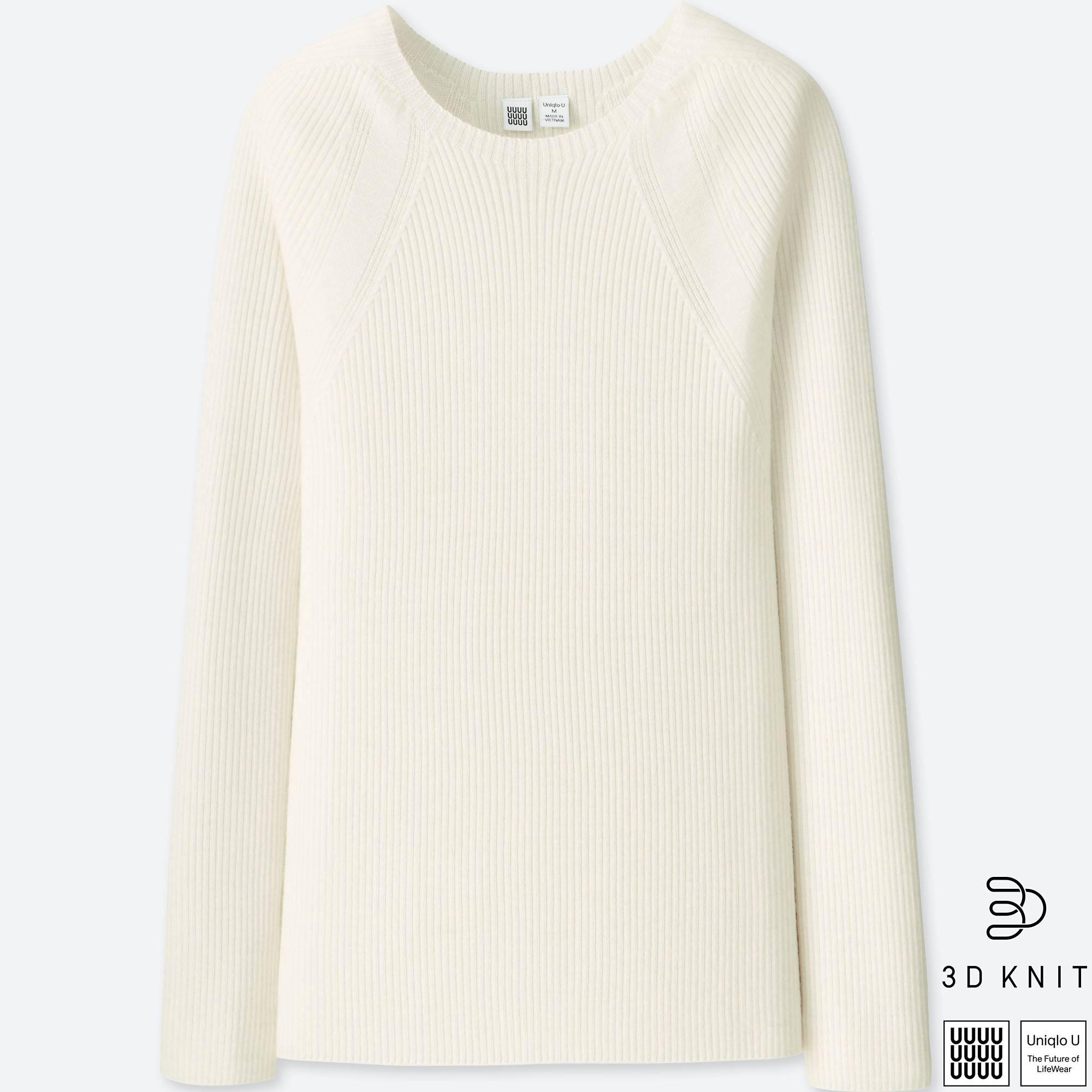 9f0ae58976a Uniqlo Women U 3d Extra Fine Merino Ribbed Sweater in White - Lyst