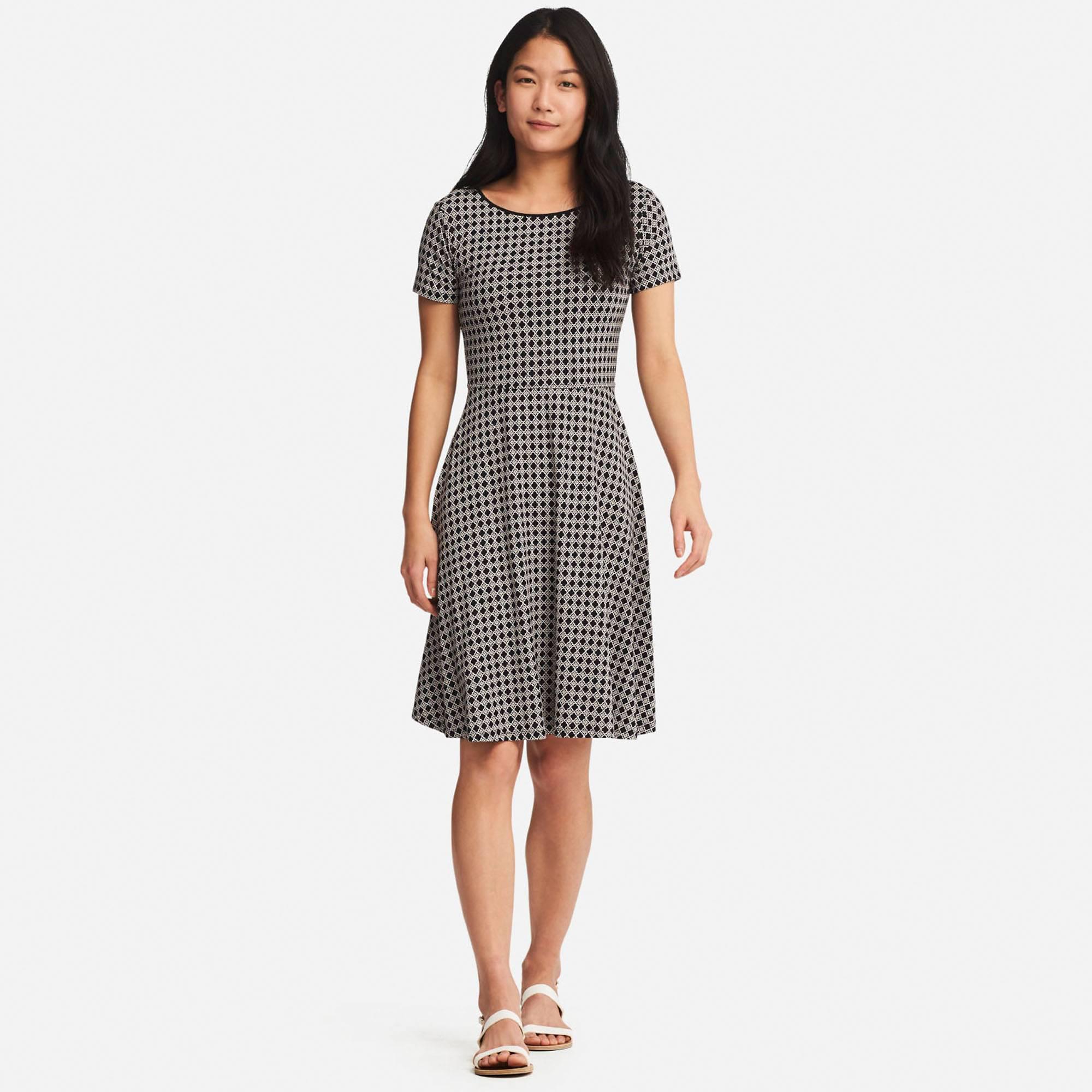 f7bff63762e31 Lyst - Uniqlo Women Geometric-print Short-sleeve Bra Dress in Black