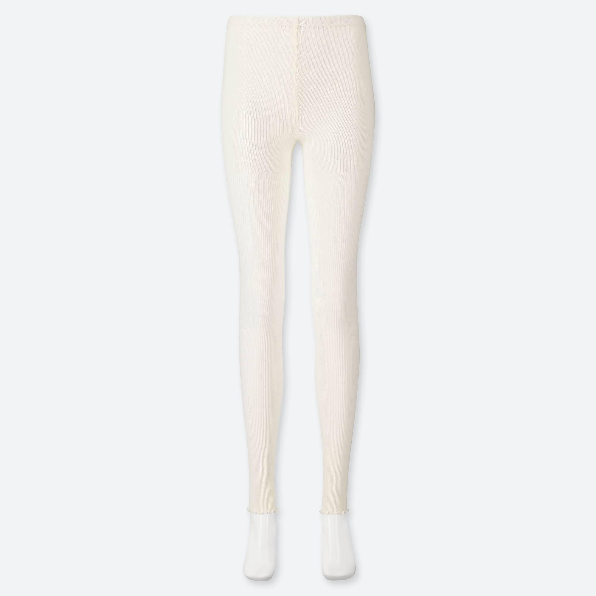 8098bbc40e85e White Women Ribbed Extended Length LEGGINGS