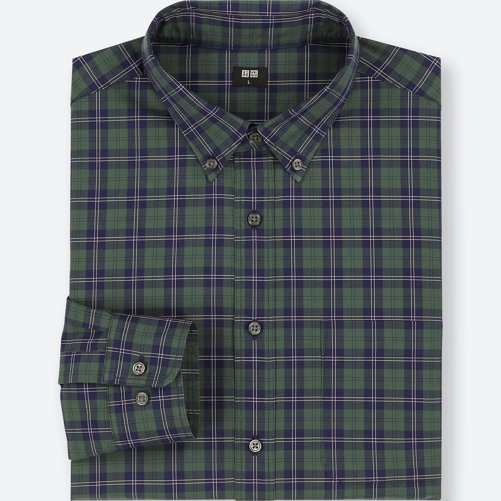 32f52eca17d3 Uniqlo - Green Extra Fine Cotton Broadcloth Regular Fit Checked Shirt  (button-down Collar