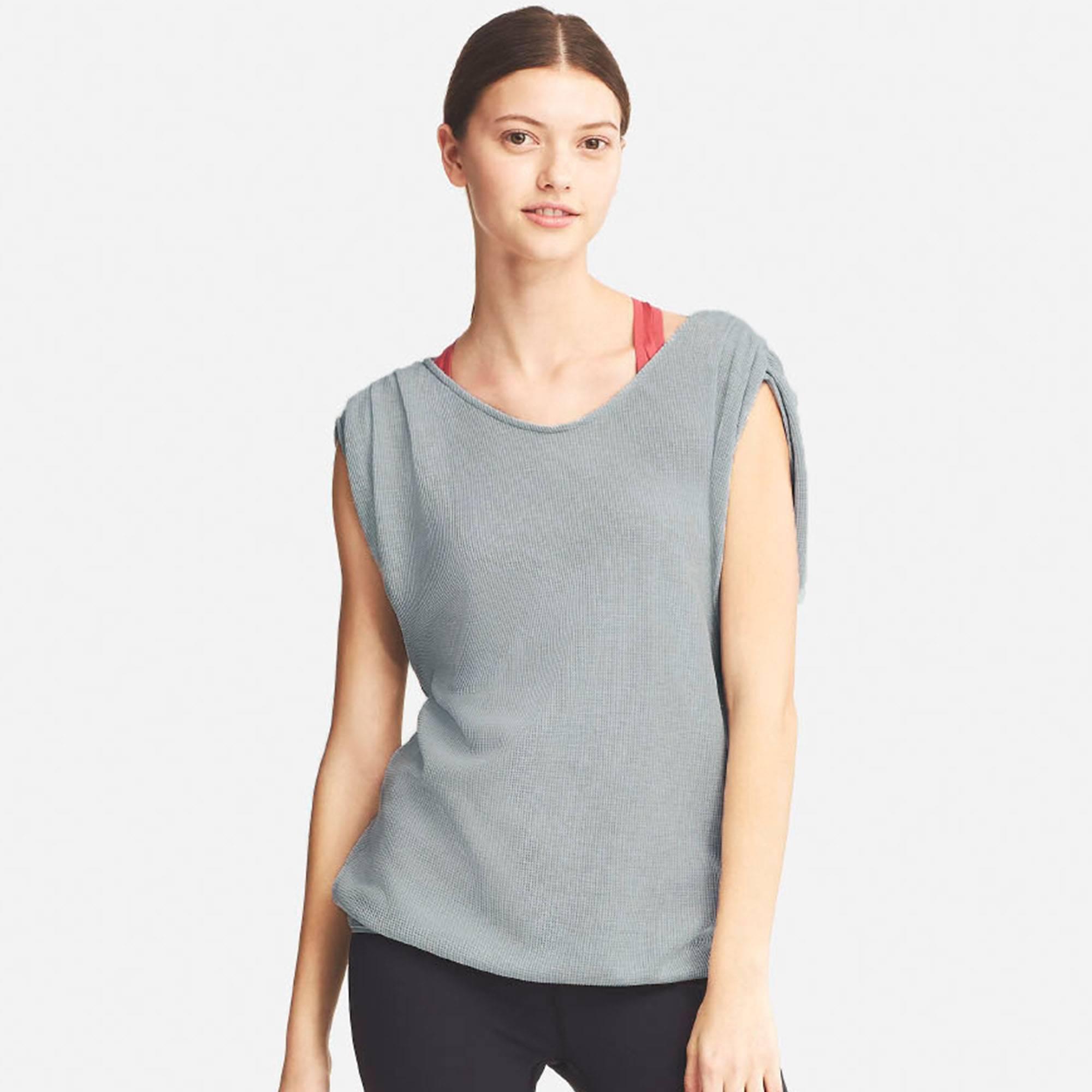 ee869c33eb3ef Lyst - Uniqlo Dry Waffle Short Sleeve Tunic in Gray