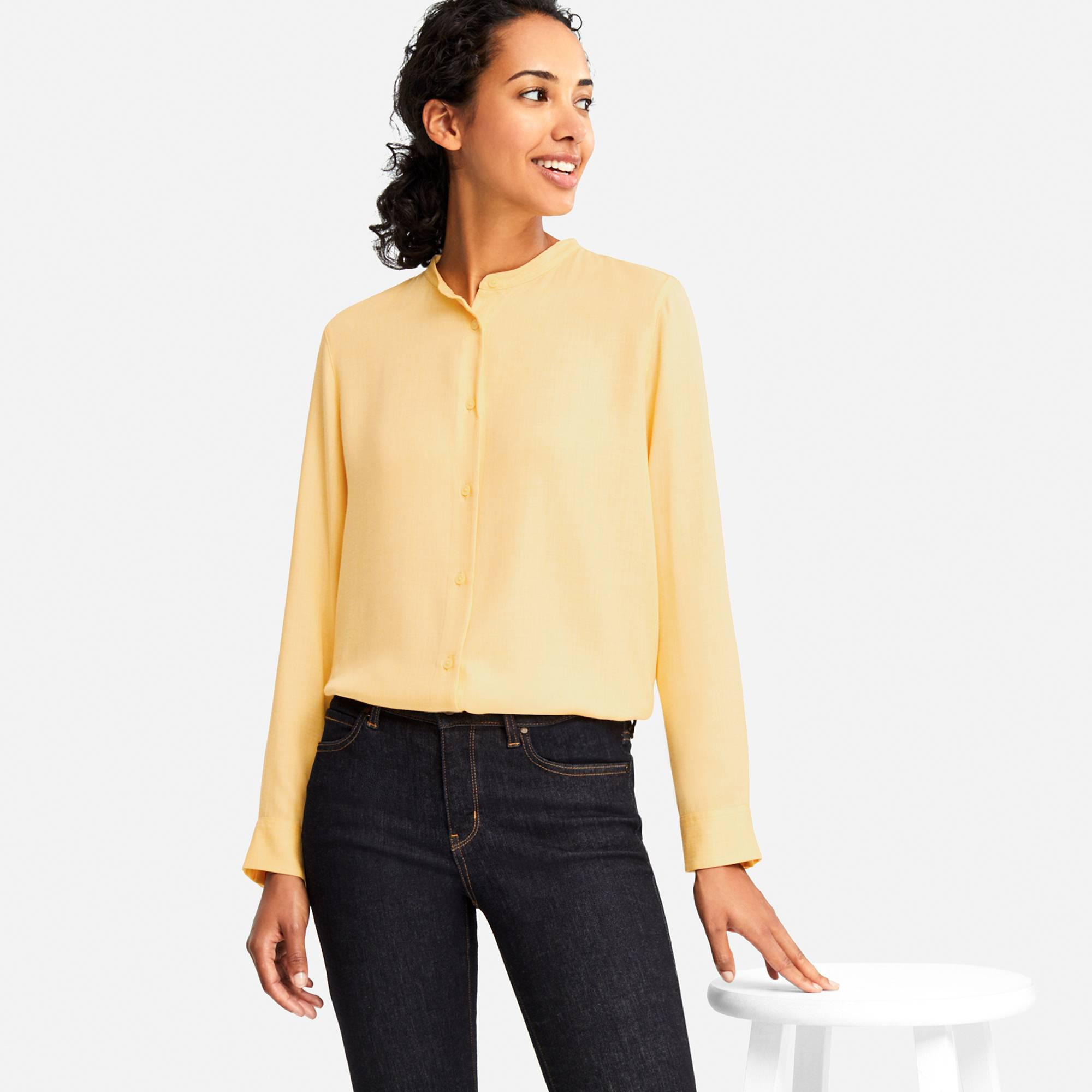 243c15170c47cf Lyst - Uniqlo Women Rayon Long-sleeve Blouse in Yellow
