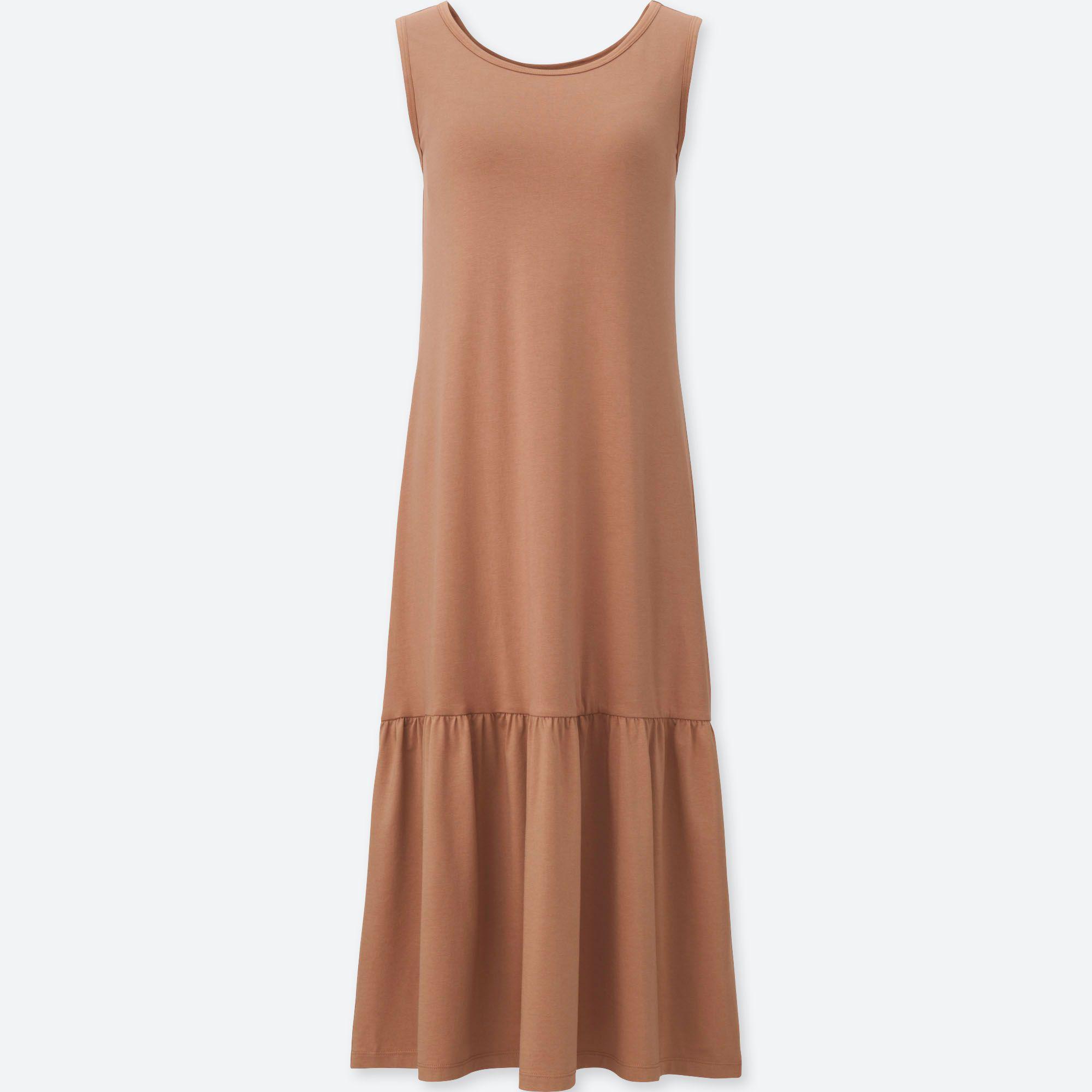 7c374d030a Uniqlo Flared Sleeveless Bra Dress in Orange - Lyst