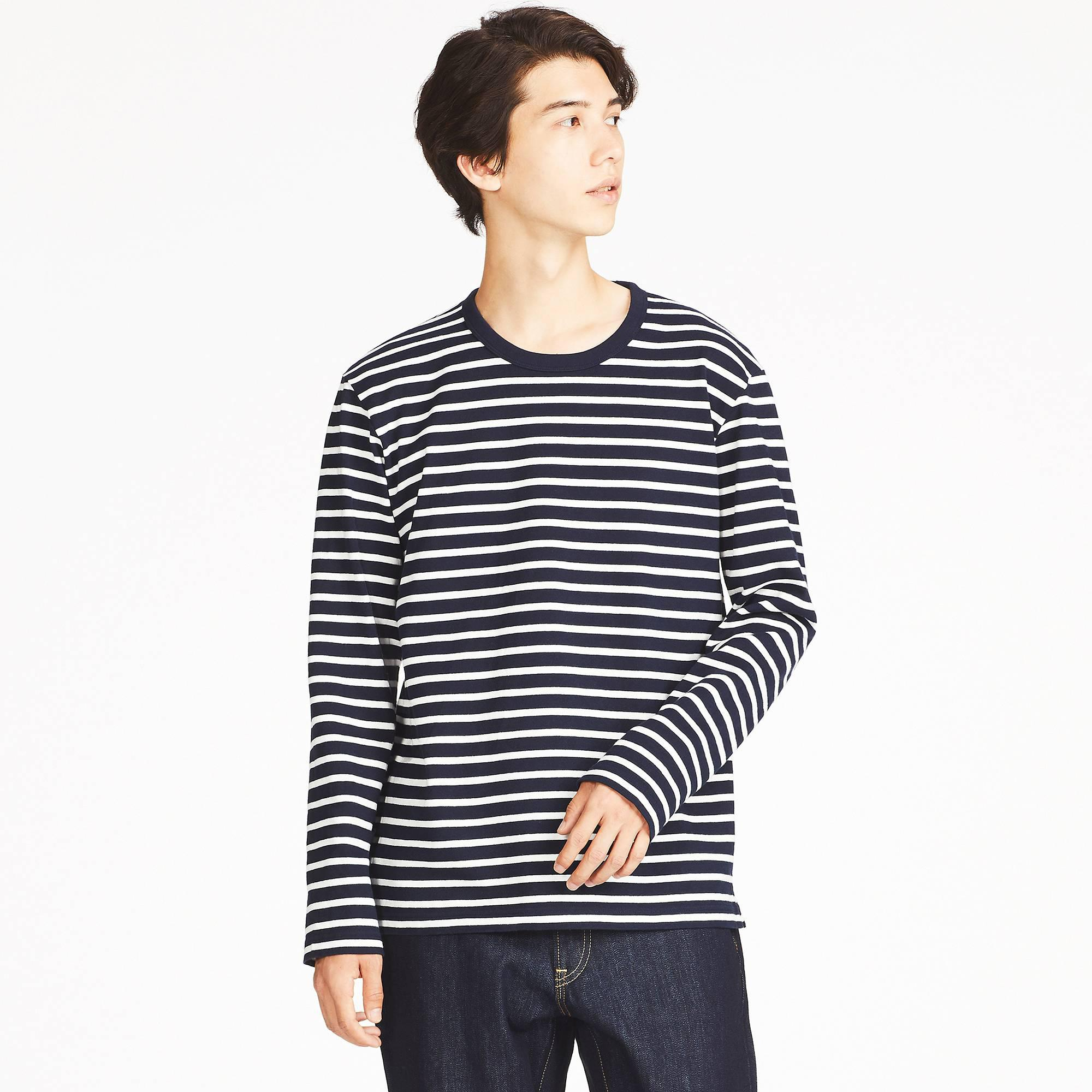 5f50dec6 Uniqlo Men Washed Striped Long-sleeve T-shirt in Blue for Men - Lyst