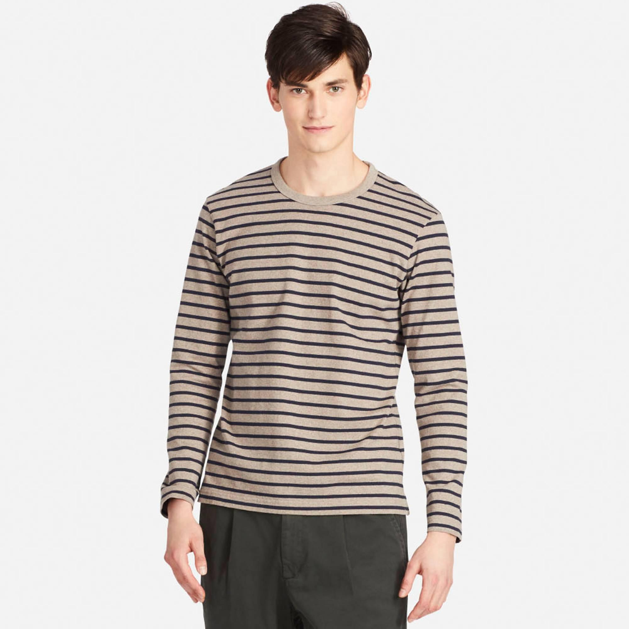 cfde2e656e Uniqlo Men Washed Striped Crew Neck Short-sleeve T-shirt in Brown ...