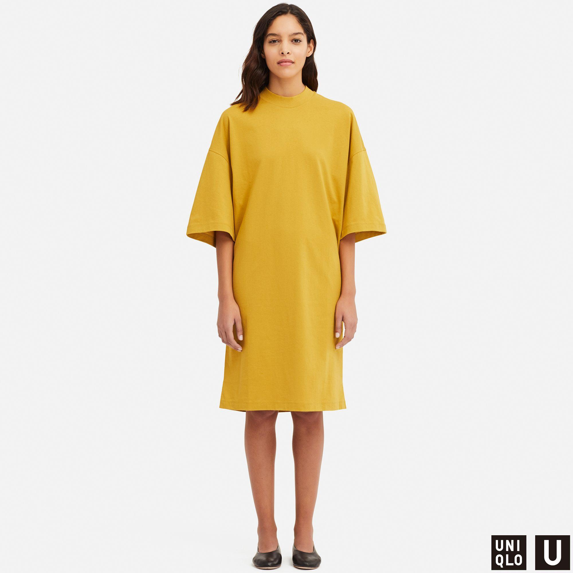 811765b92ee4a6 Uniqlo Women U Oversize Half-sleeve T-shirt Dress in Yellow - Lyst